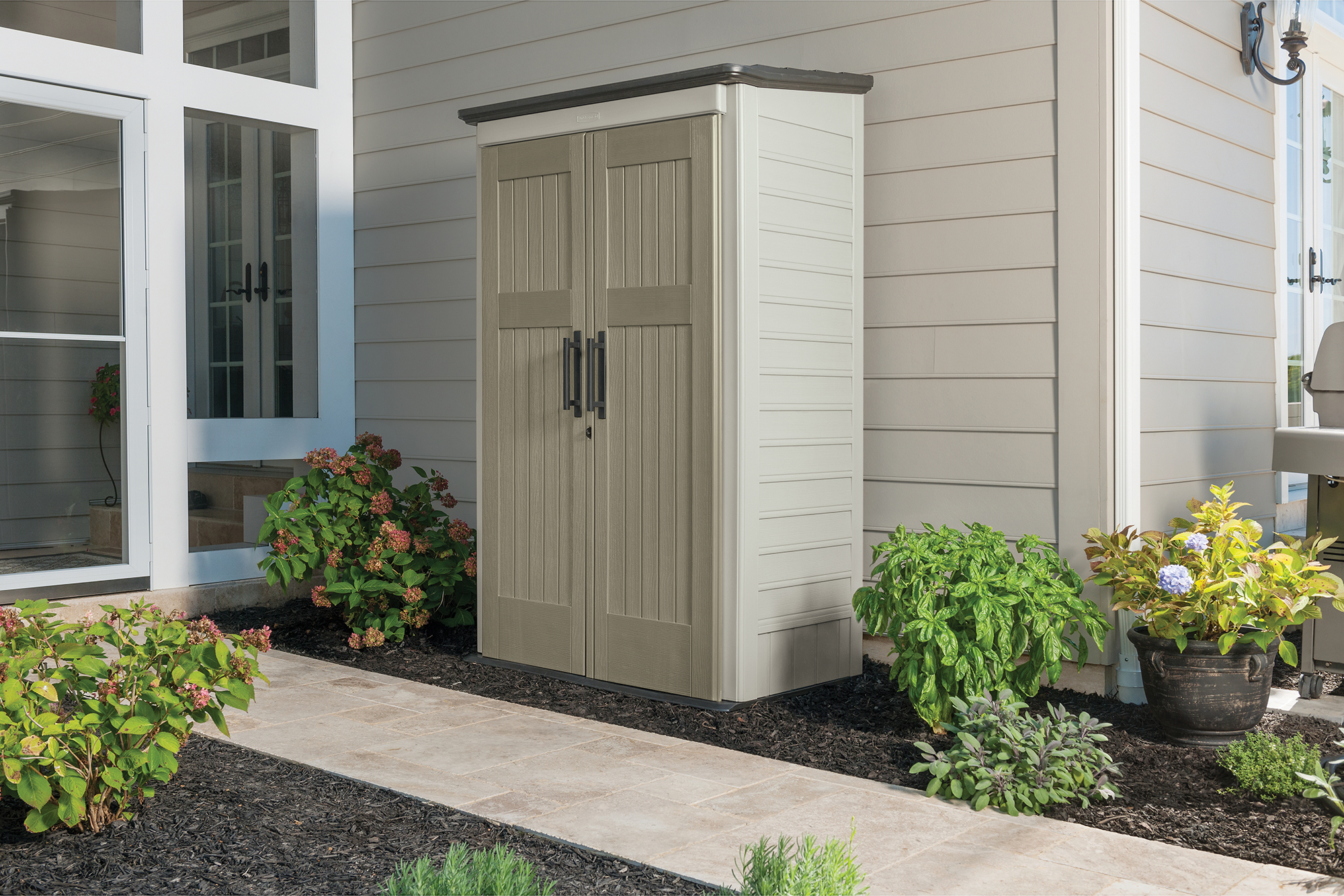 """Rubbermaid® Outdoor Large Resin Vertical Storage Shed, 4'3"""" x 6'9"""""""