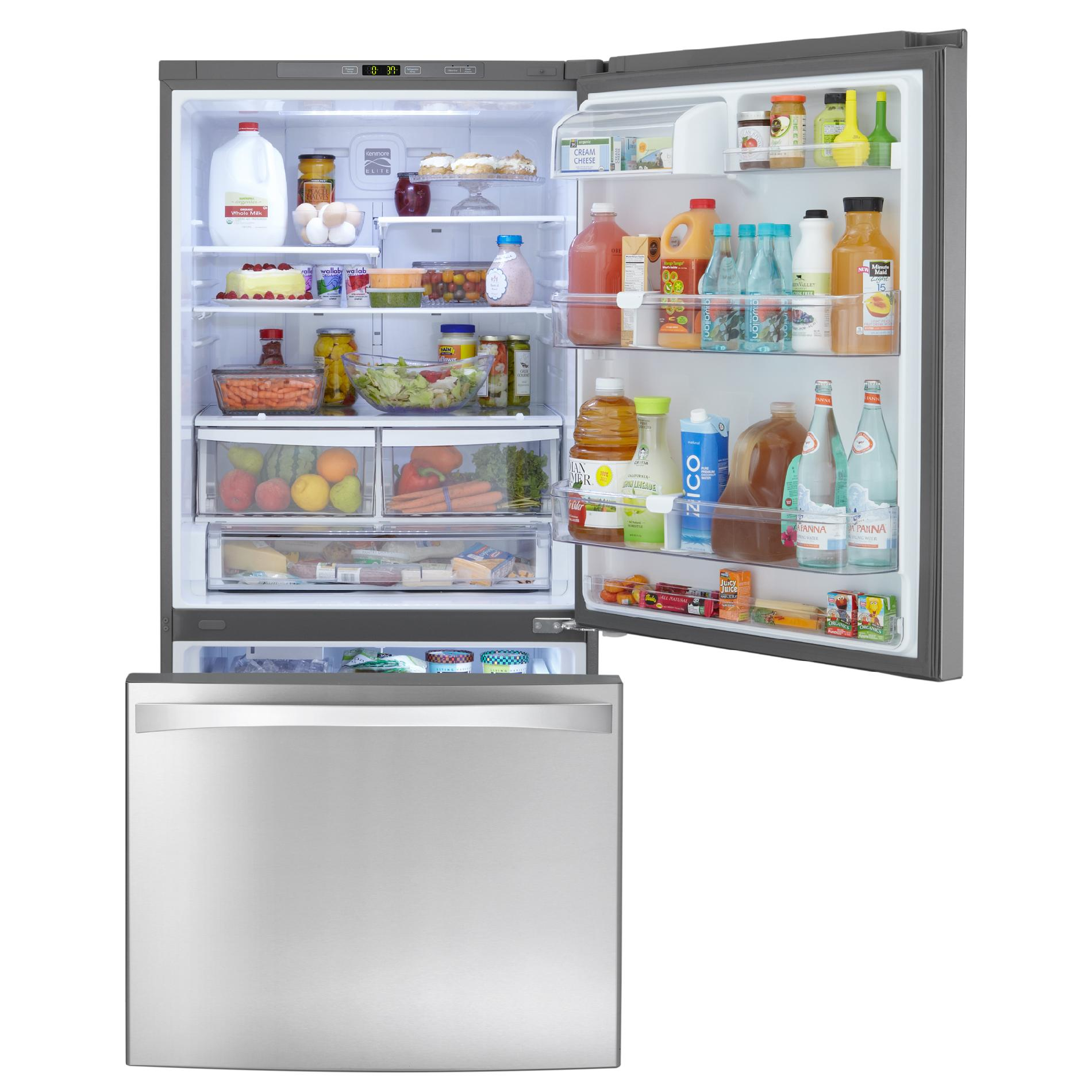Kenmore Elite 79043 24.1 cu. ft. Bottom-Freezer Refrigerator—Stainless Steel