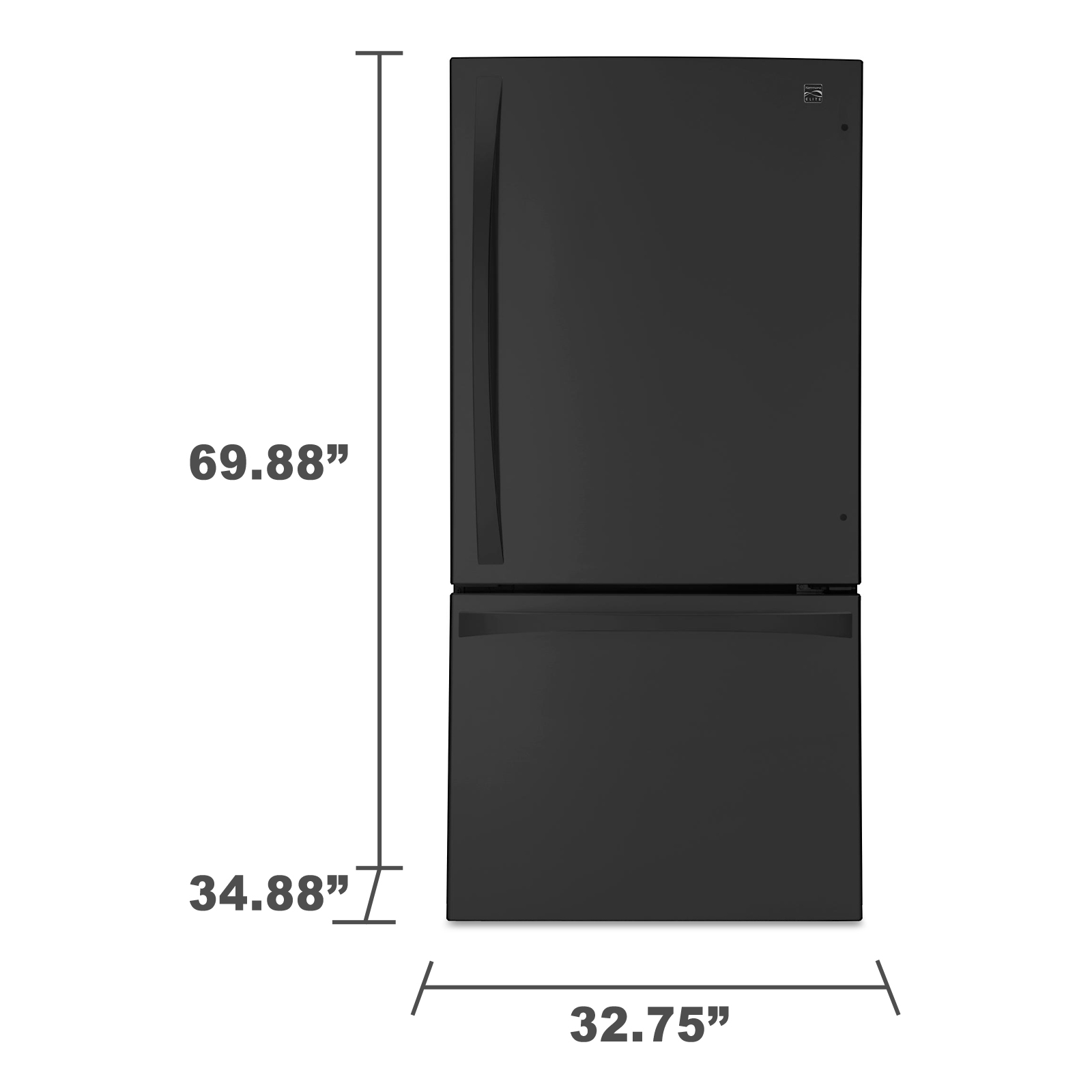 "Kenmore Elite 79049 24.1 cu. ft. 33"" Bottom-Freezer Refrigerator – Black"