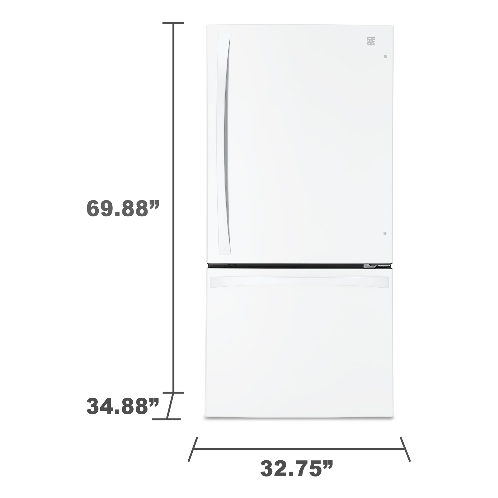 Kenmore Elite 79042 24.1 cu. ft. Bottom-Freezer Refrigerator - White