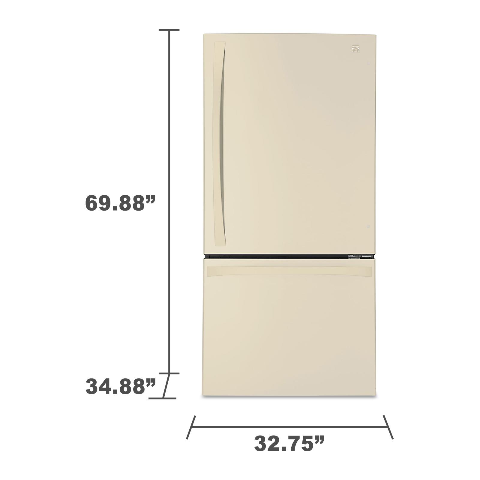 "Kenmore Elite 79044 24.1 cu. ft. 33"" Bottom-Freezer Refrigerator – Bisque"