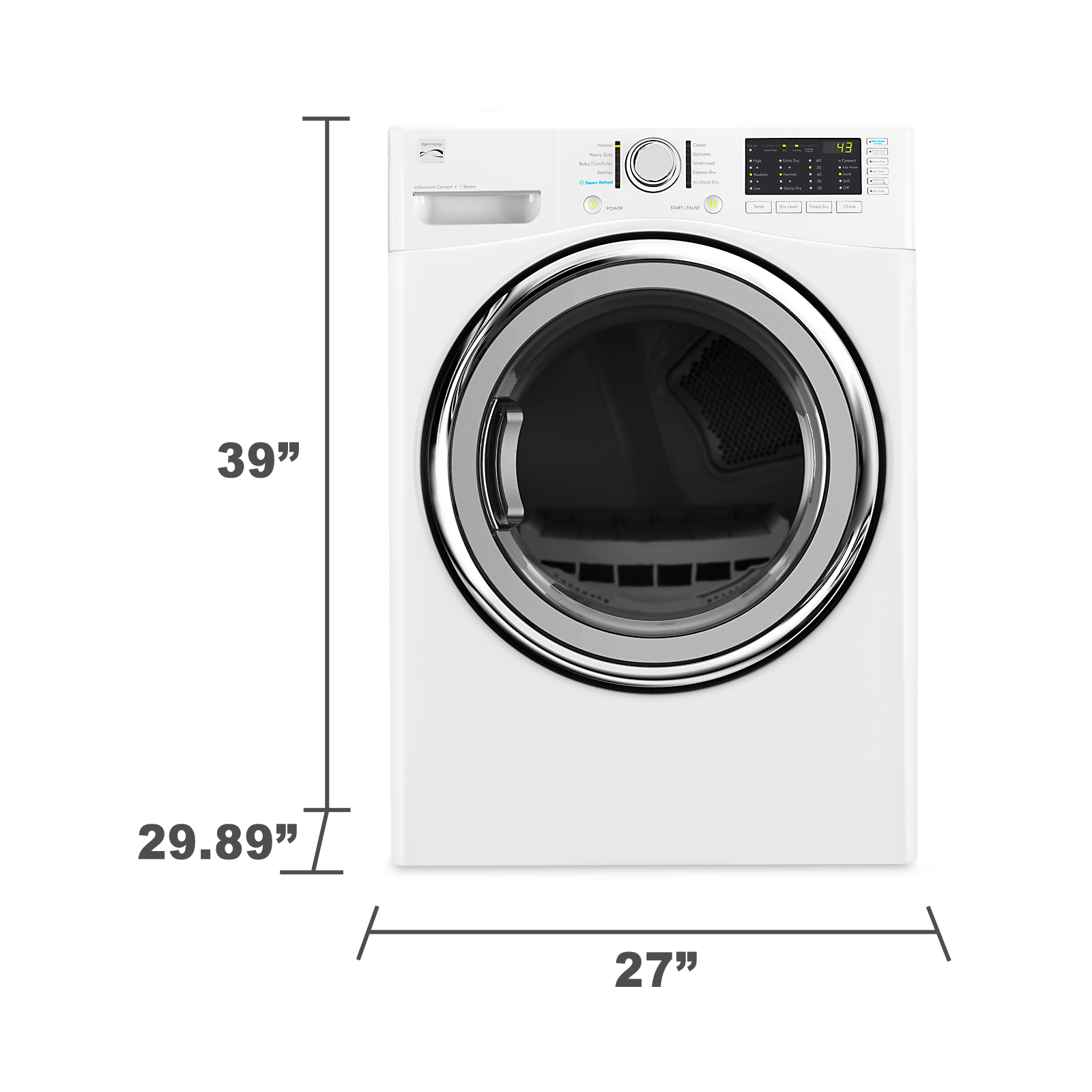 Kenmore 91382 7.4 cu. ft. Gas Dryer w/ Steam - White