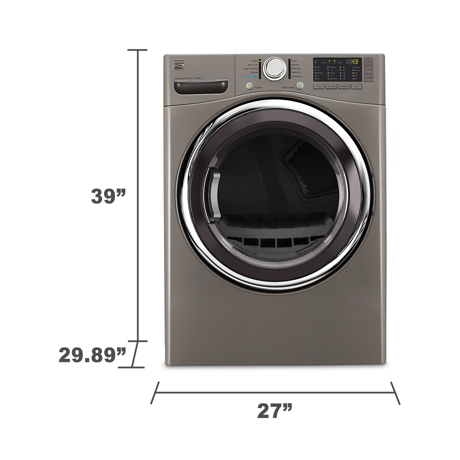 Kenmore 91383 7.4 cu. ft. Gas Dryer w/ Steam - Metallic Silver