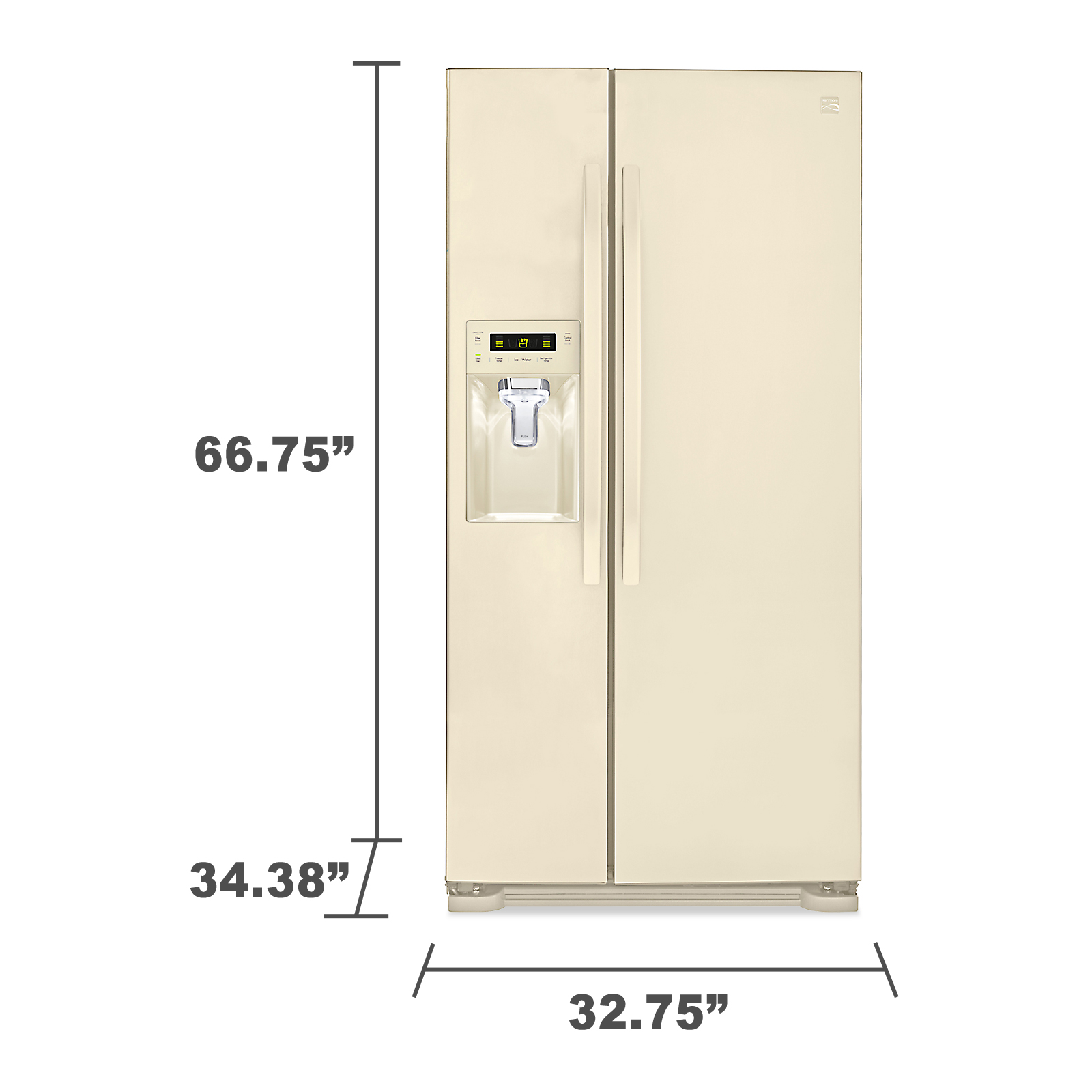 Kenmore 51814 21.9 cu. ft. Side-by-Side Refrigerator w/ Dispenser - Bisque