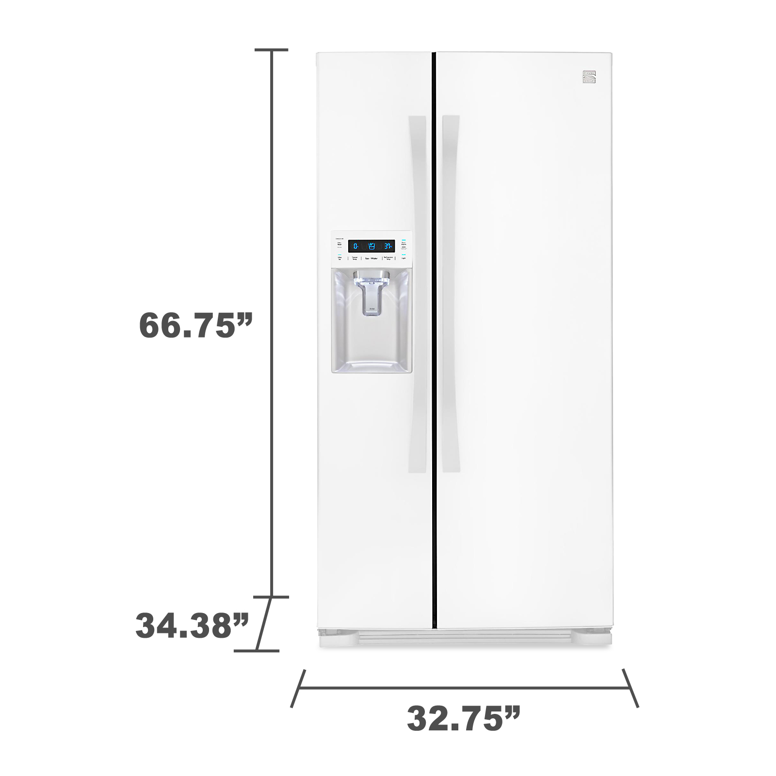 "Kenmore Elite 51822 21.9 cu.ft. 33"" Capacity Side-by-Side Refrigerator w/ Dispenser"