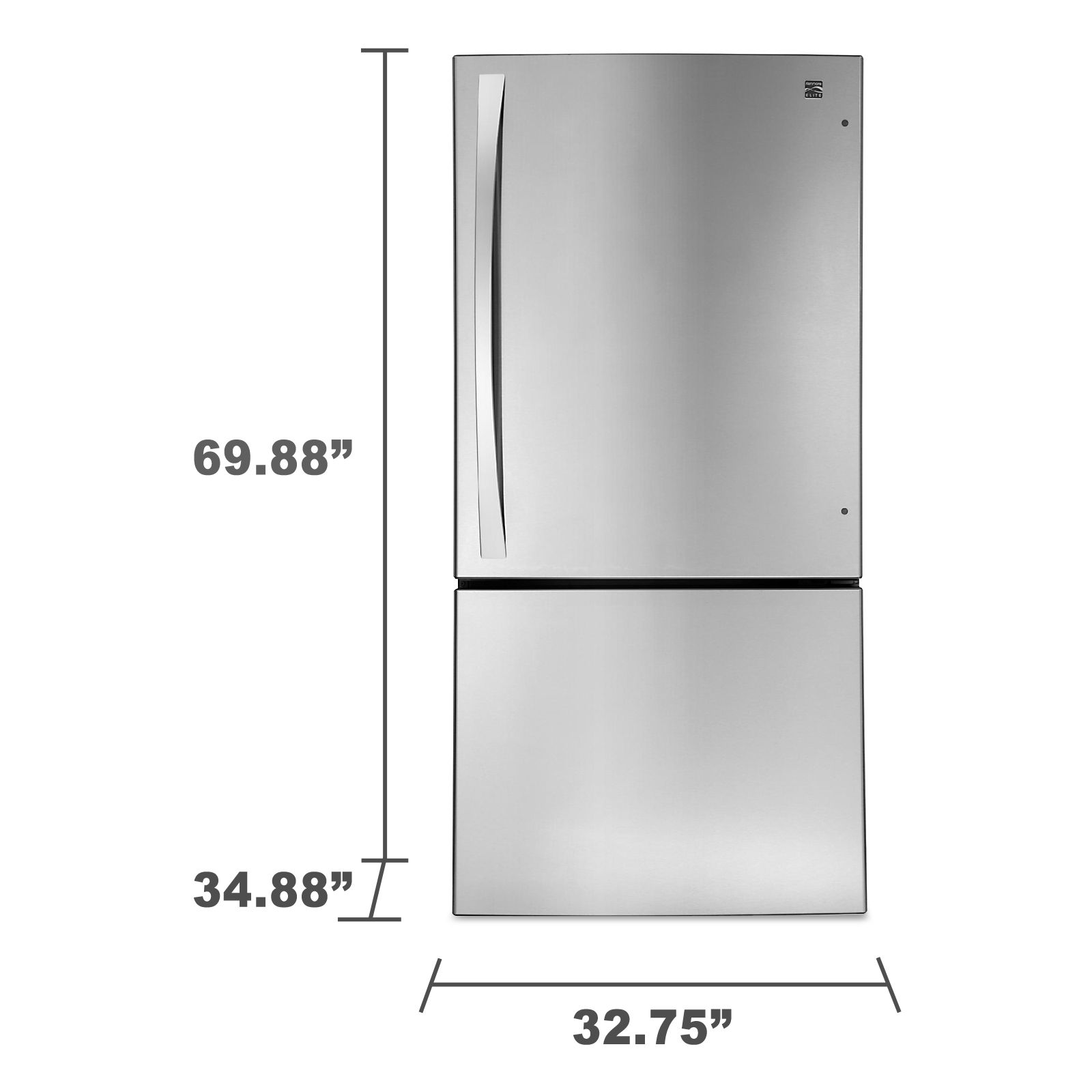 Kenmore Elite 24.1 cu. ft. Bottom-Freezer Refrigerator - Stainless Steel