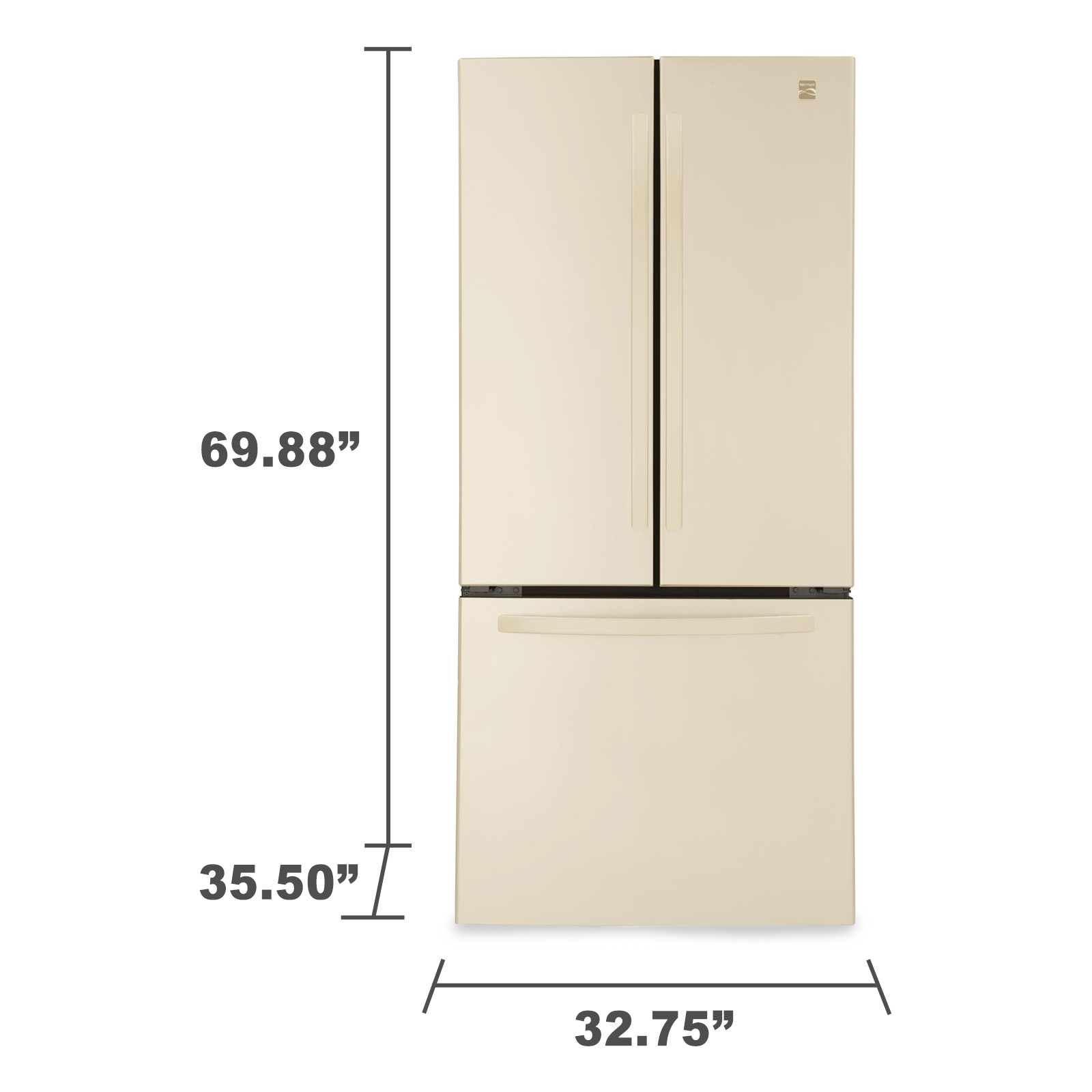 Kenmore 71314 23.9 cu. ft.  French Door Bottom-Freezer Refrigerator - Bisque