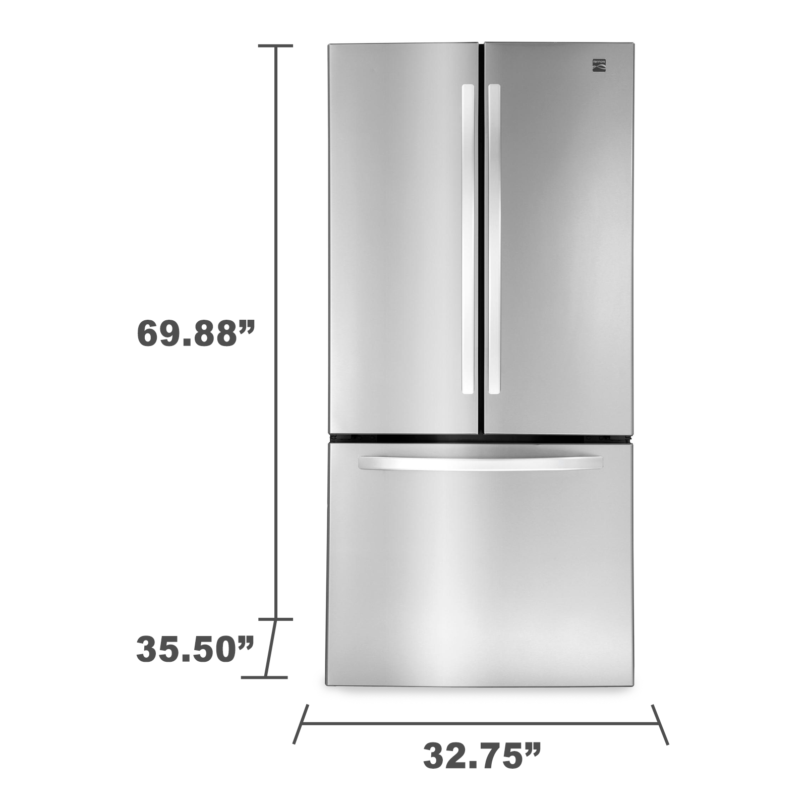 Kenmore 71313 23.9 cu. ft. French Door Bottom-Freezer Refrigerator – Stainless Steel