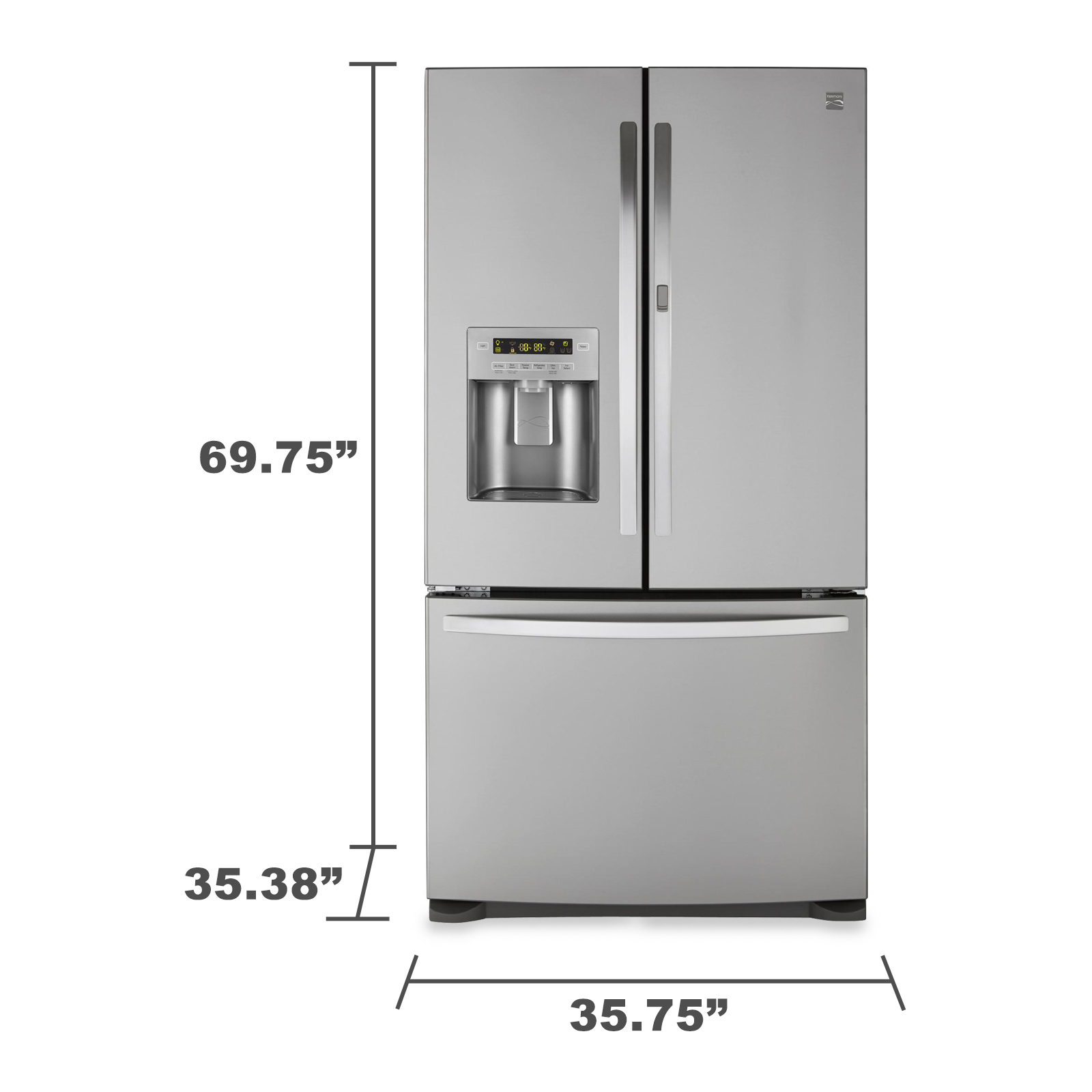Kenmore 73065 26.6 cu. ft. Silver French Door Refrigerator with Bottom Freezer