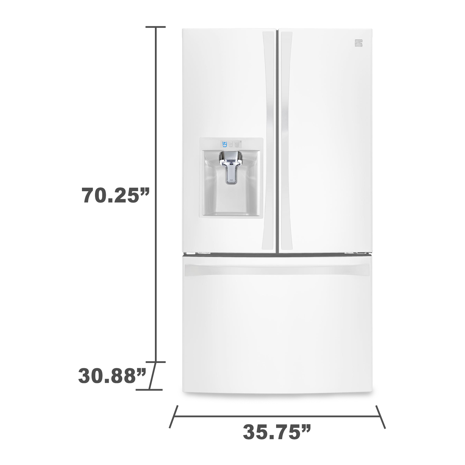Kenmore Elite 74042 23.7 cu.ft. Counter-Depth French Door Bottom-Freezer Refrigerator