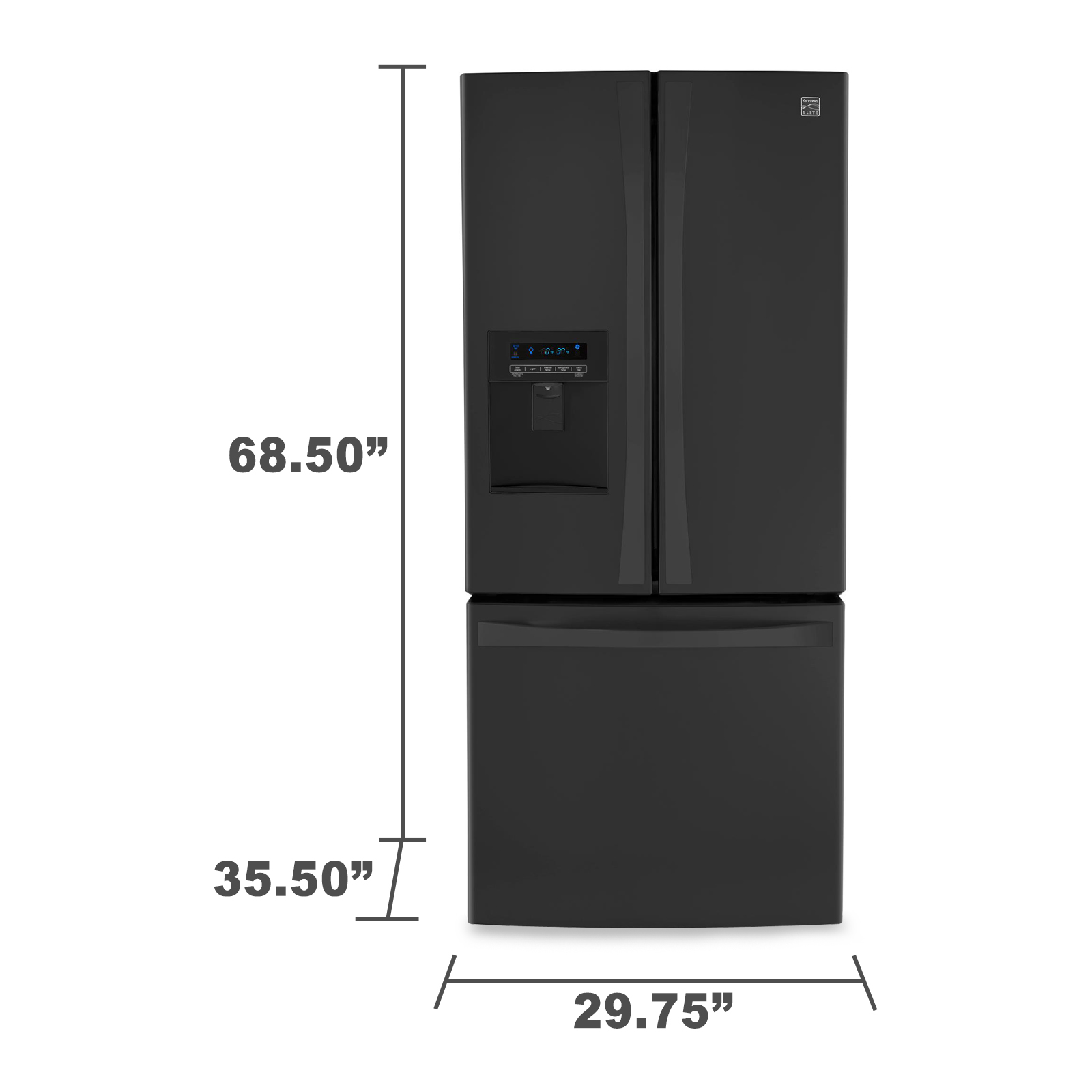 Kenmore Elite 71329 21.8 cu. ft. French Door Bottom-freezer Refrigerator w/ Water Dispenser - Black