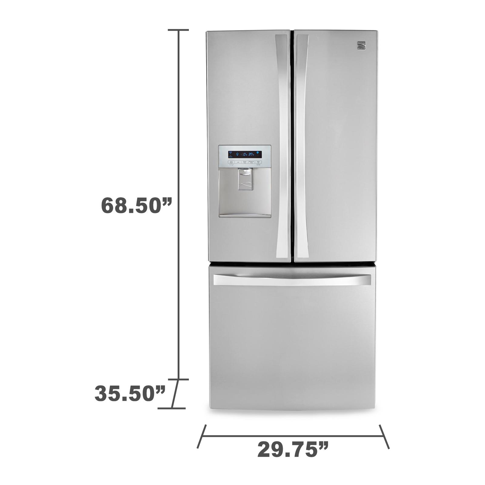 Kenmore Elite 71323 21.8 cu. ft. French Door Bottom-freezer Refrigerator w/ Water Dispenser - Stainless Steel