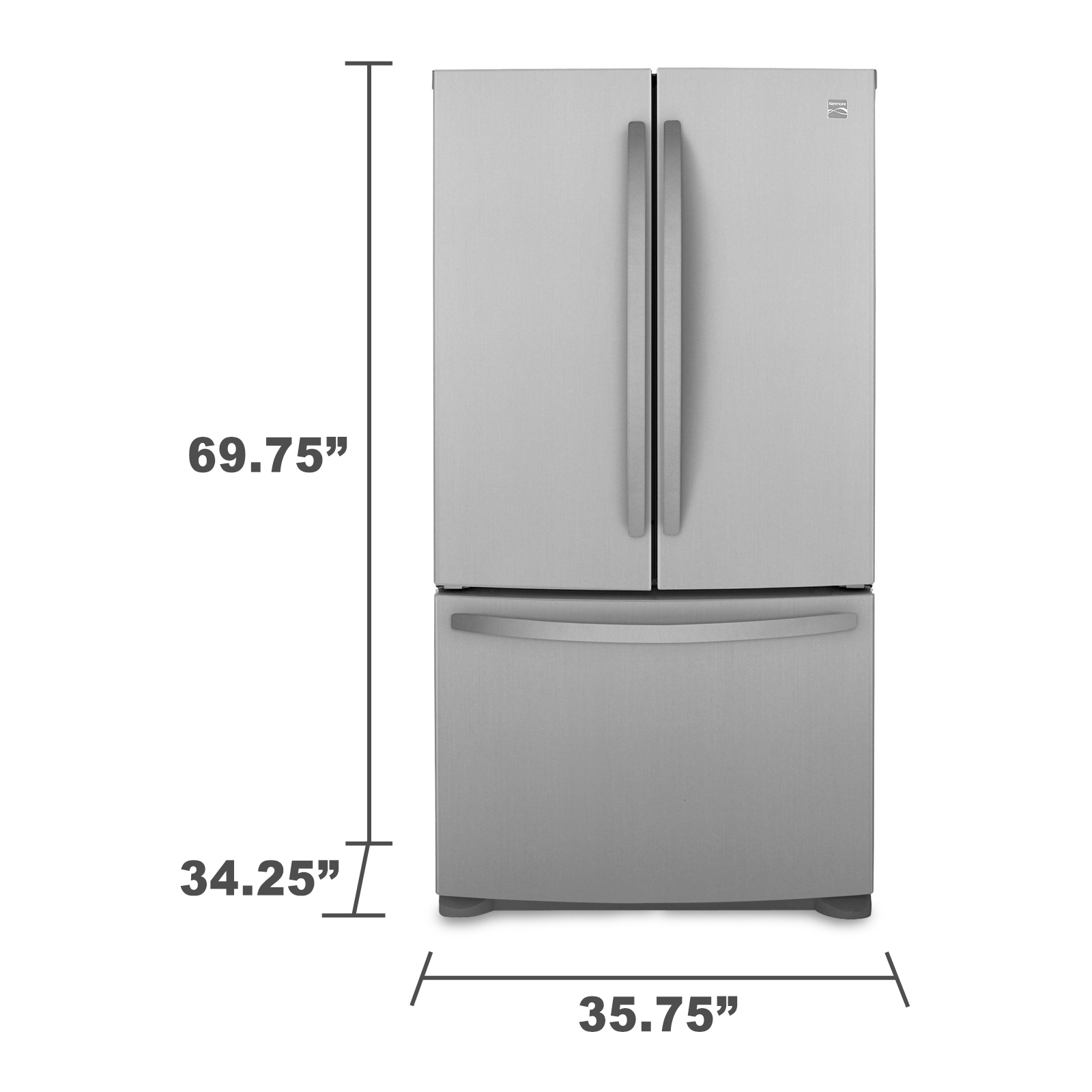 Kenmore 25.4 cu. ft. French Door Bottom-Freezer Refrigerator - Stainless Steel