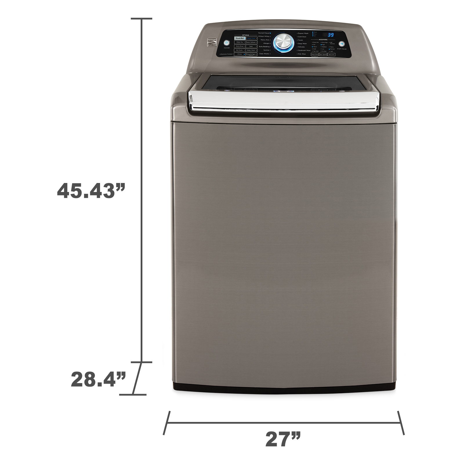 Kenmore Elite 5.2 cu. ft. Top-Load Washer w/ Steam & Accela-Wash - Metallic Gray