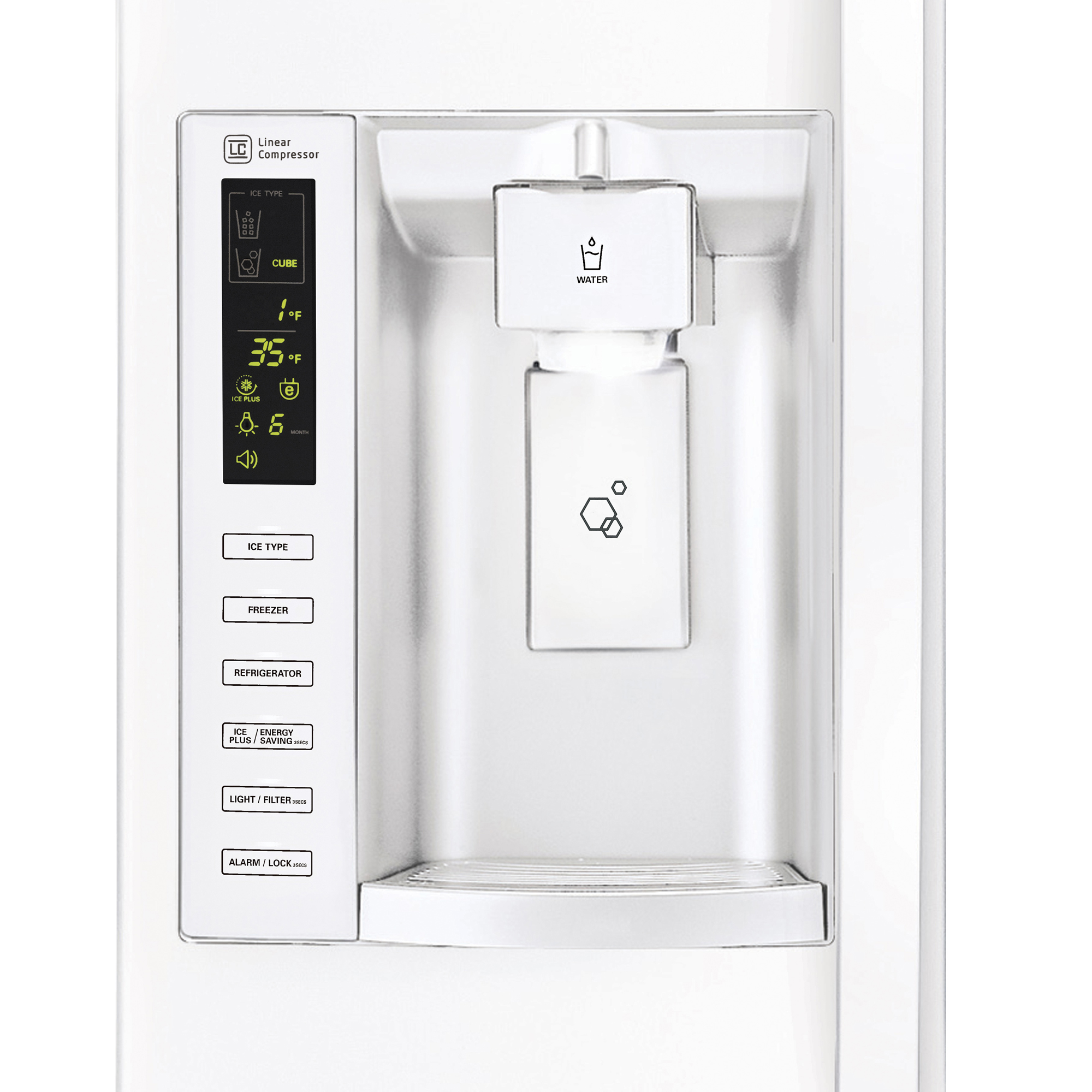 LG LSXS26326W 26.2 cu. ft. Large Capacity Side-by-Side Refrigerator w/ Ice & Water Dispenser