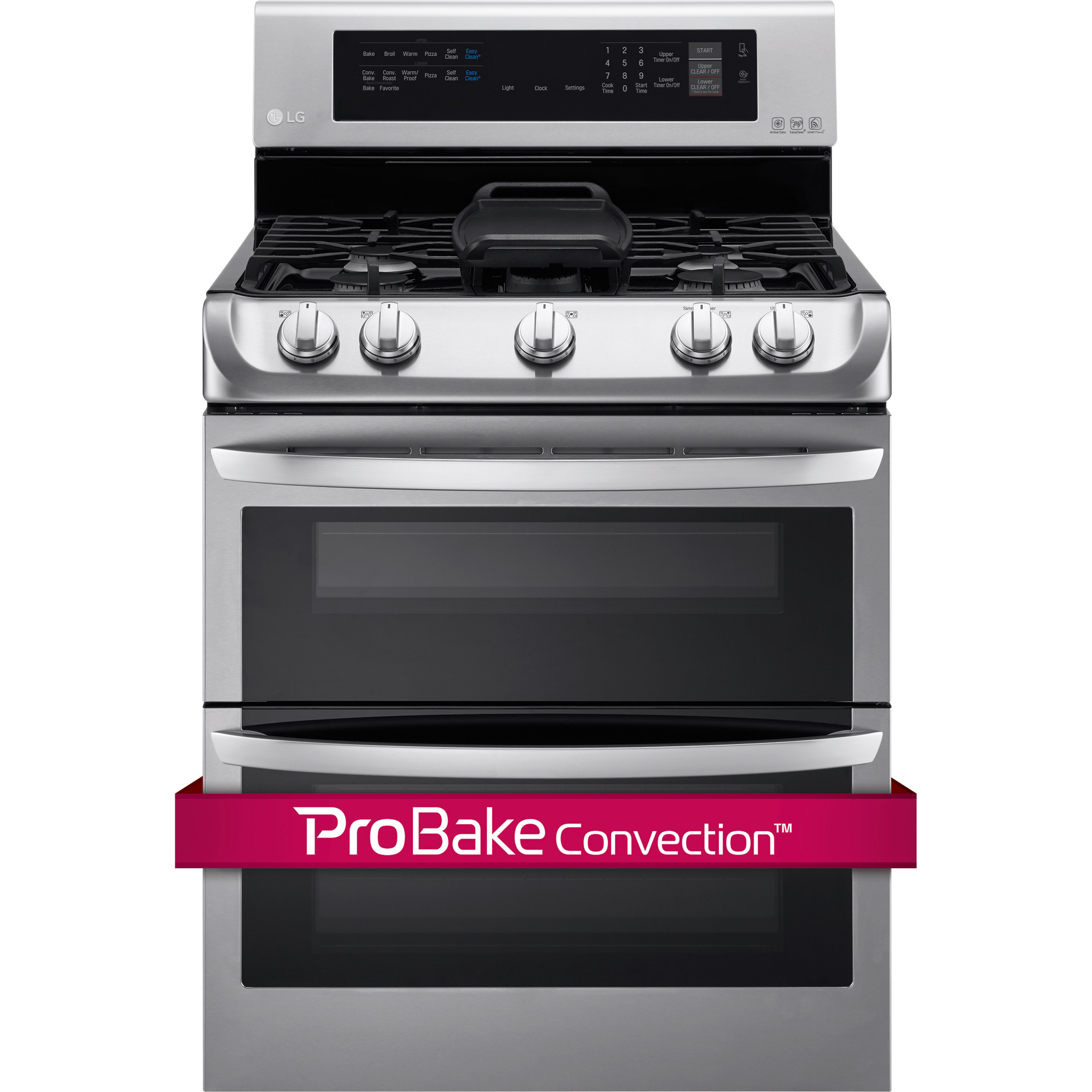 LG LDG4315ST 6.9 cu. ft. Gas Double Oven Range w/ ProBake Convection™  EasyClean® & Gliding Rack – Stainless Steel
