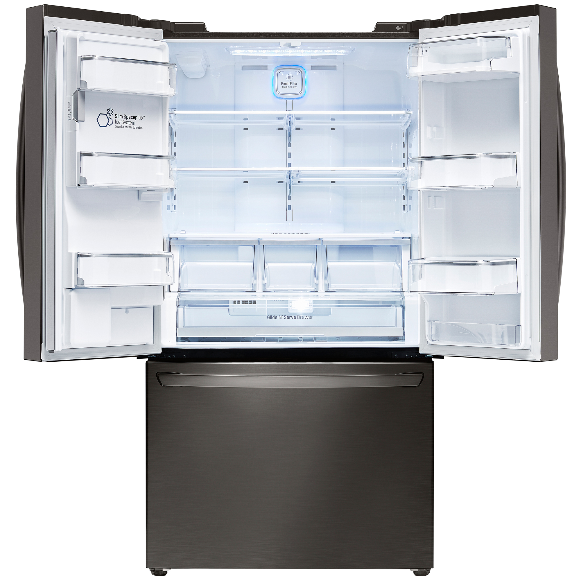 LG LFXC24726D 23.7 cu. ft. Counter-Depth French Door Refrigerator w/Smart Cooling Plus - Black Stainless
