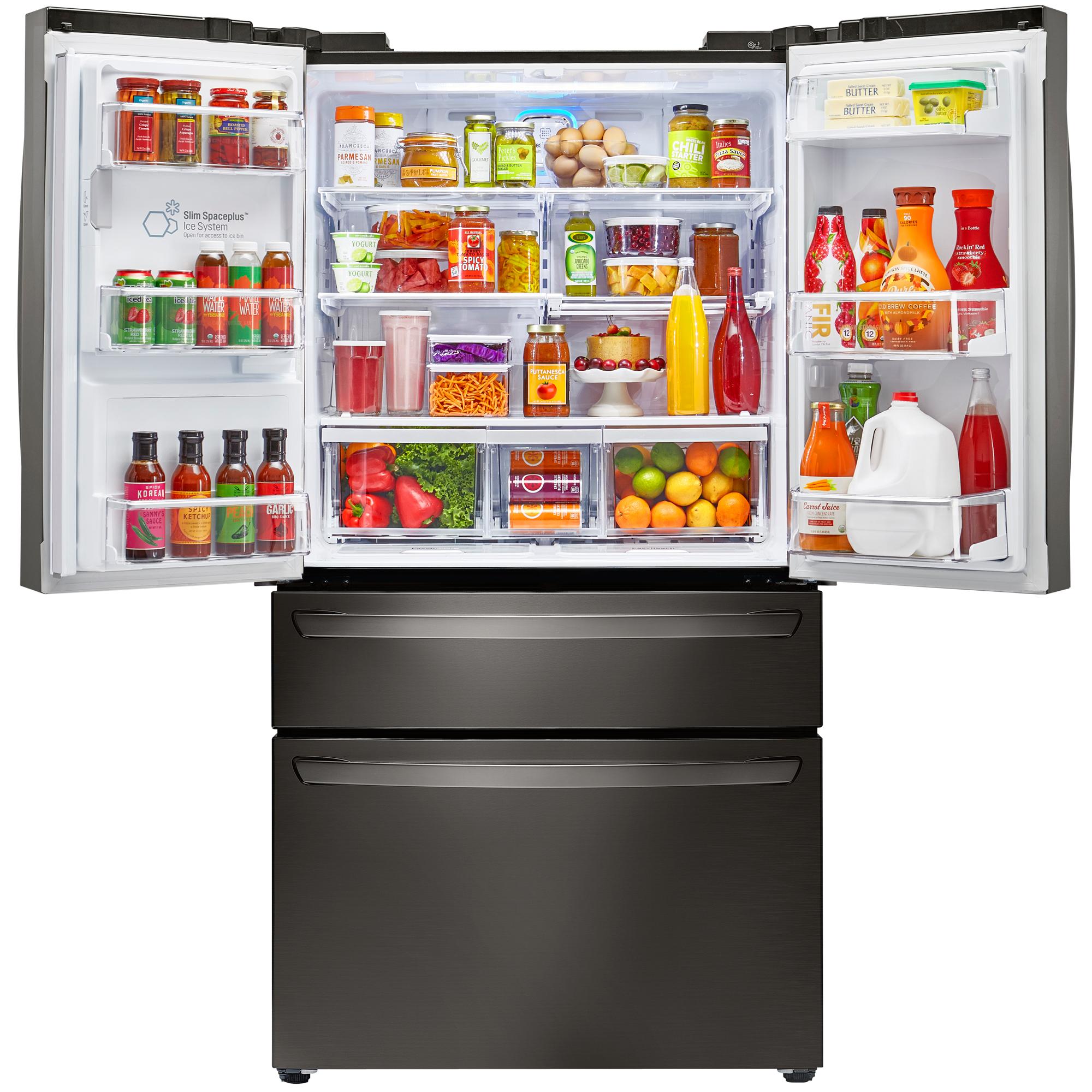 LG LMXC23746D 22.7 cu.ft. Counter-Depth 4-Door Refrigerator w/ CustomChill™ Drawer – Black Stainless