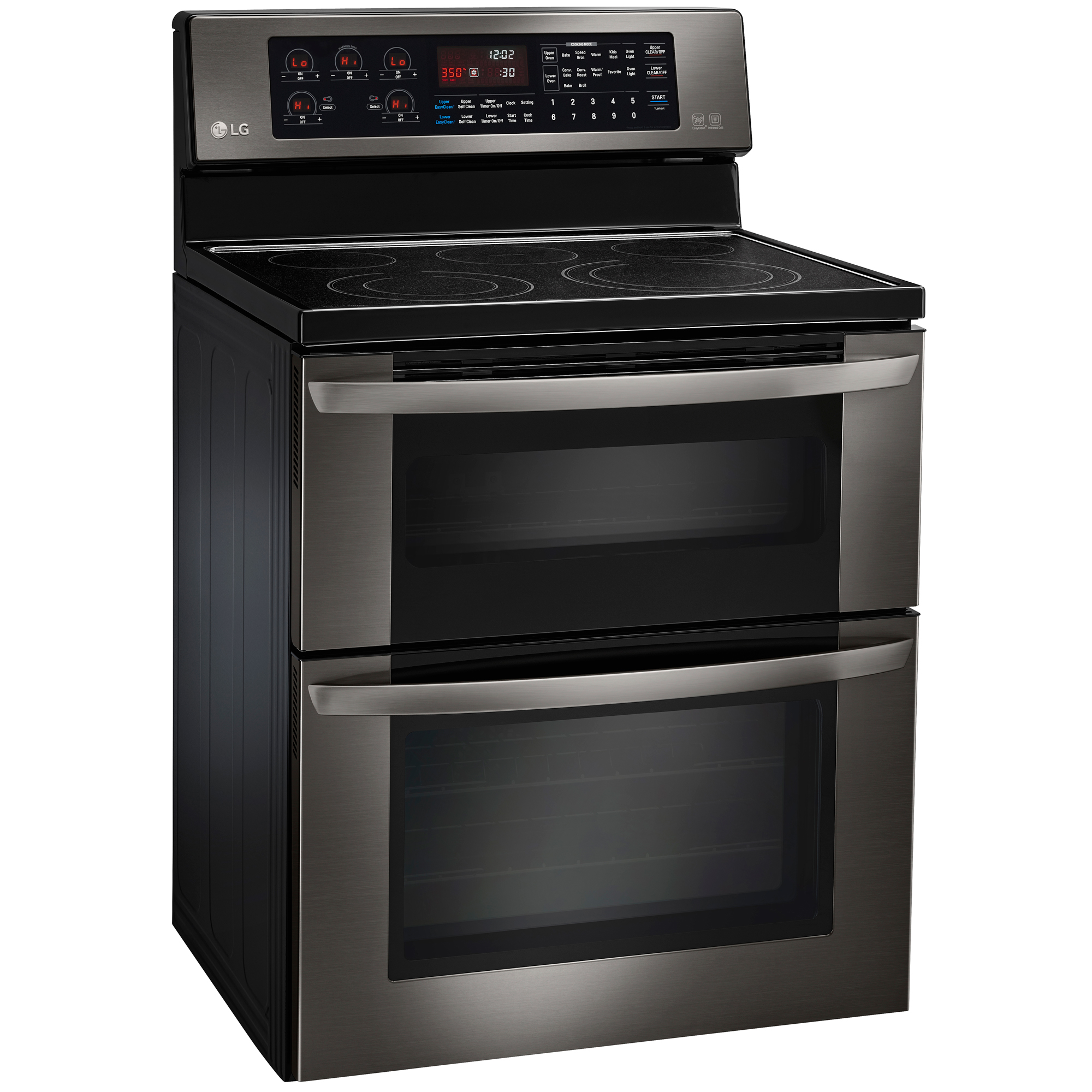 LG LDE3037BD 6.7 cu. ft. Double-Oven Electric Range w/Infrared Grill - Black Stainless Steel