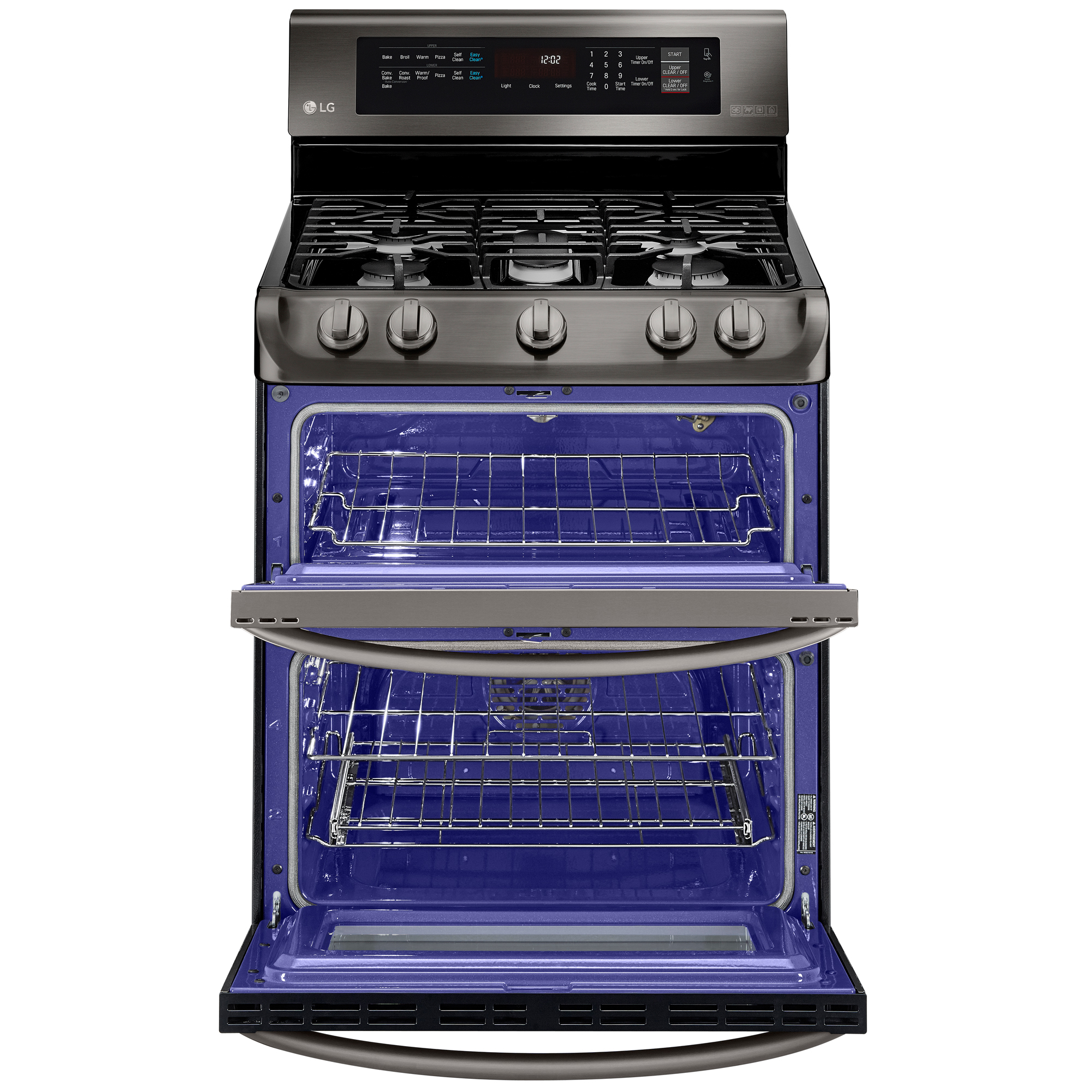 LG LDG4315BD 6.9 cu. ft. Gas Double Oven Range w/ ProBake Convection™  EasyClean® & Gliding Rack – Black Stainless Steel