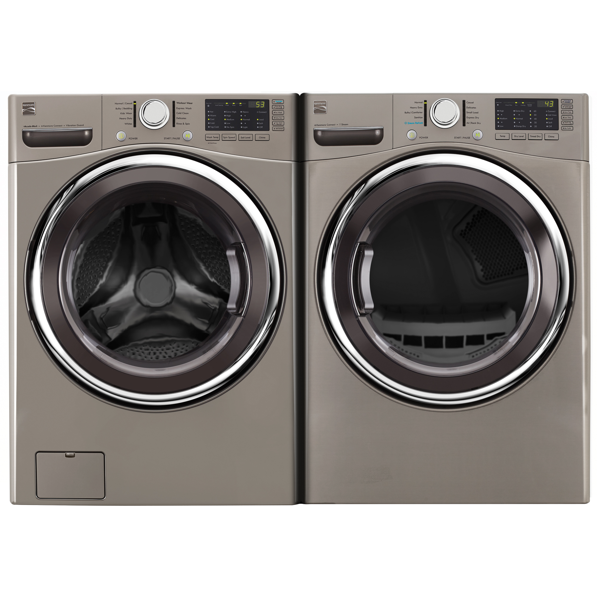 4.5 cu. ft. Front-Load Washer w/Accela Wash® & 7.4 cu. ft. Dryer Metallic Silver