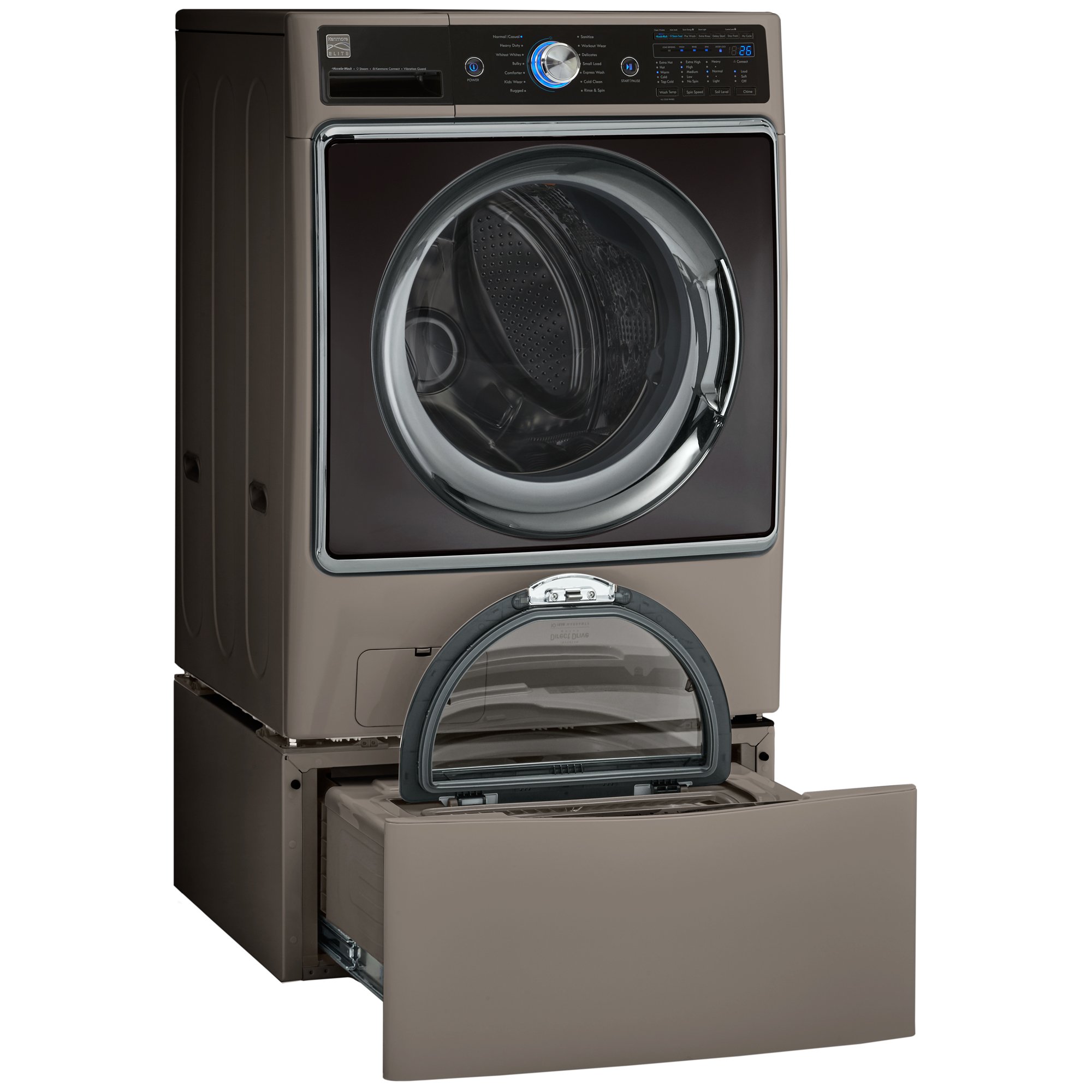 5.2 cu. ft. Front-load Washer w/Steam & Pedestal Washer Bundle Metallic Silver