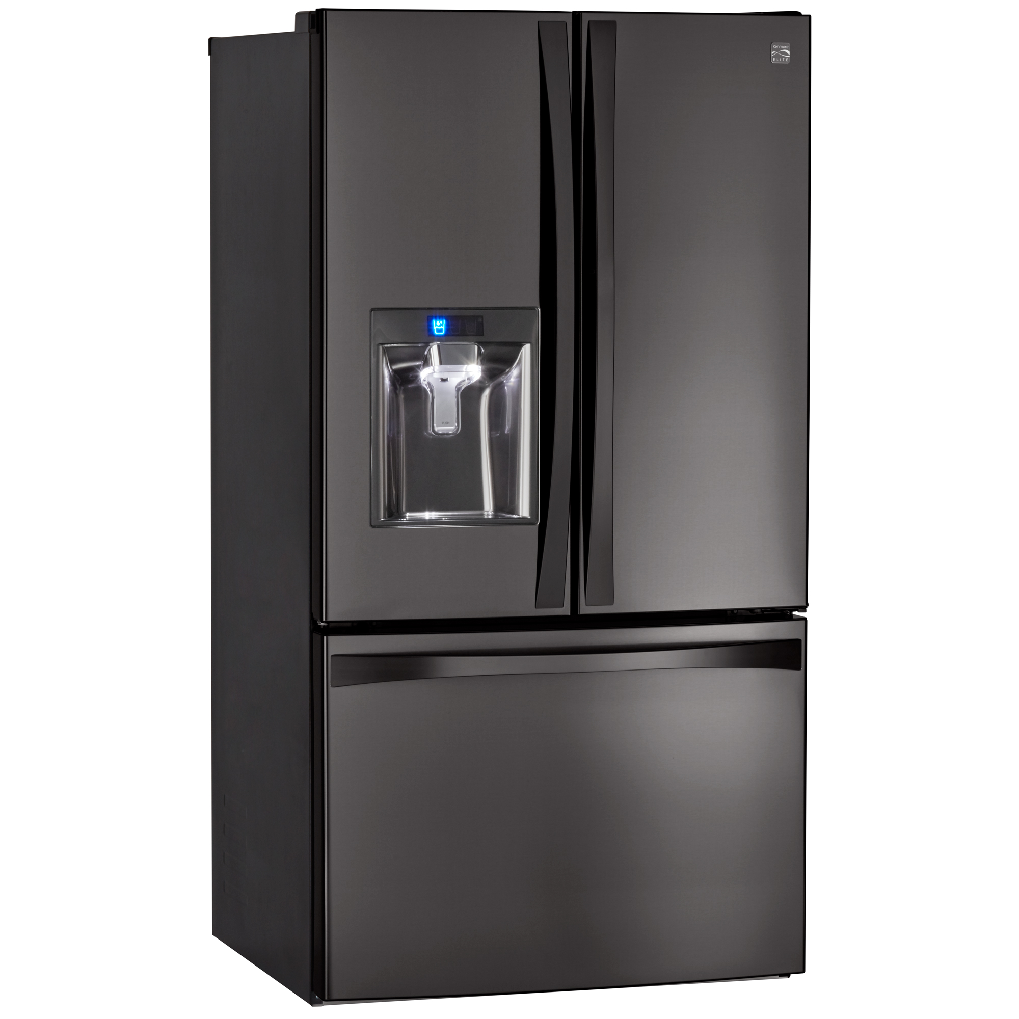Kenmore Elite 73157 28.7 cu. ft. French Door Bottom Freezer Refrigerator – Black Stainless Steel