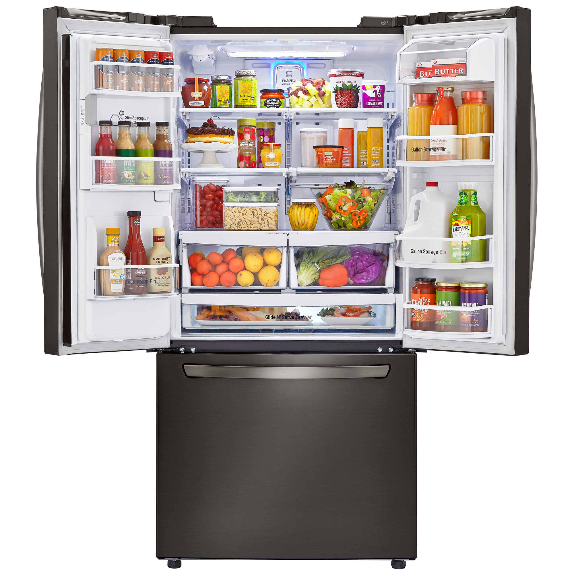 "LG LFXS24623D 24.2 Cu. Ft. 33"" Wide French Door Refrigerator w/ Ice & Water – Black Stainless"