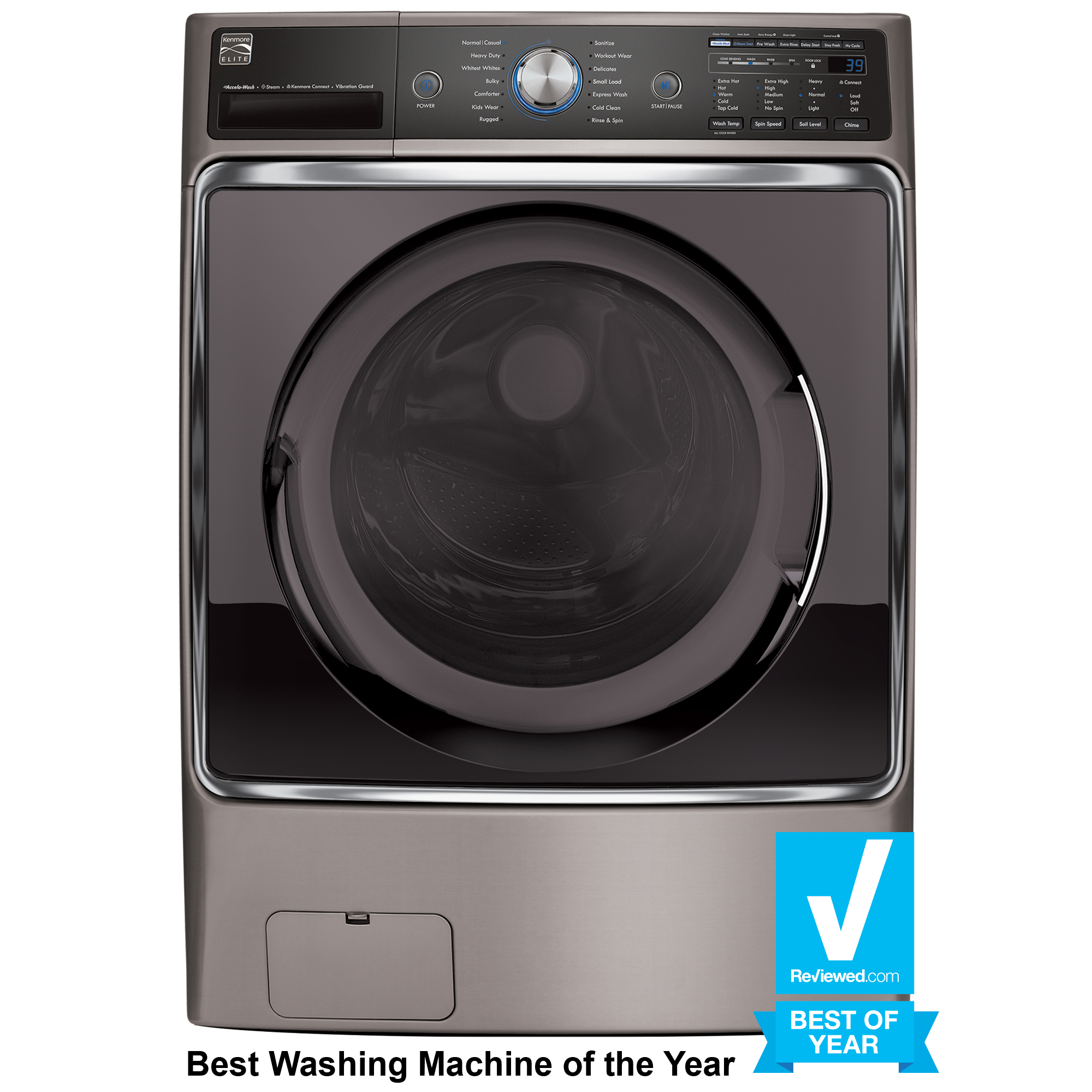 Kenmore Elite 41073 5.2 cu. ft. Front-Load Washer w/Steam Treat® - Metallic Silver