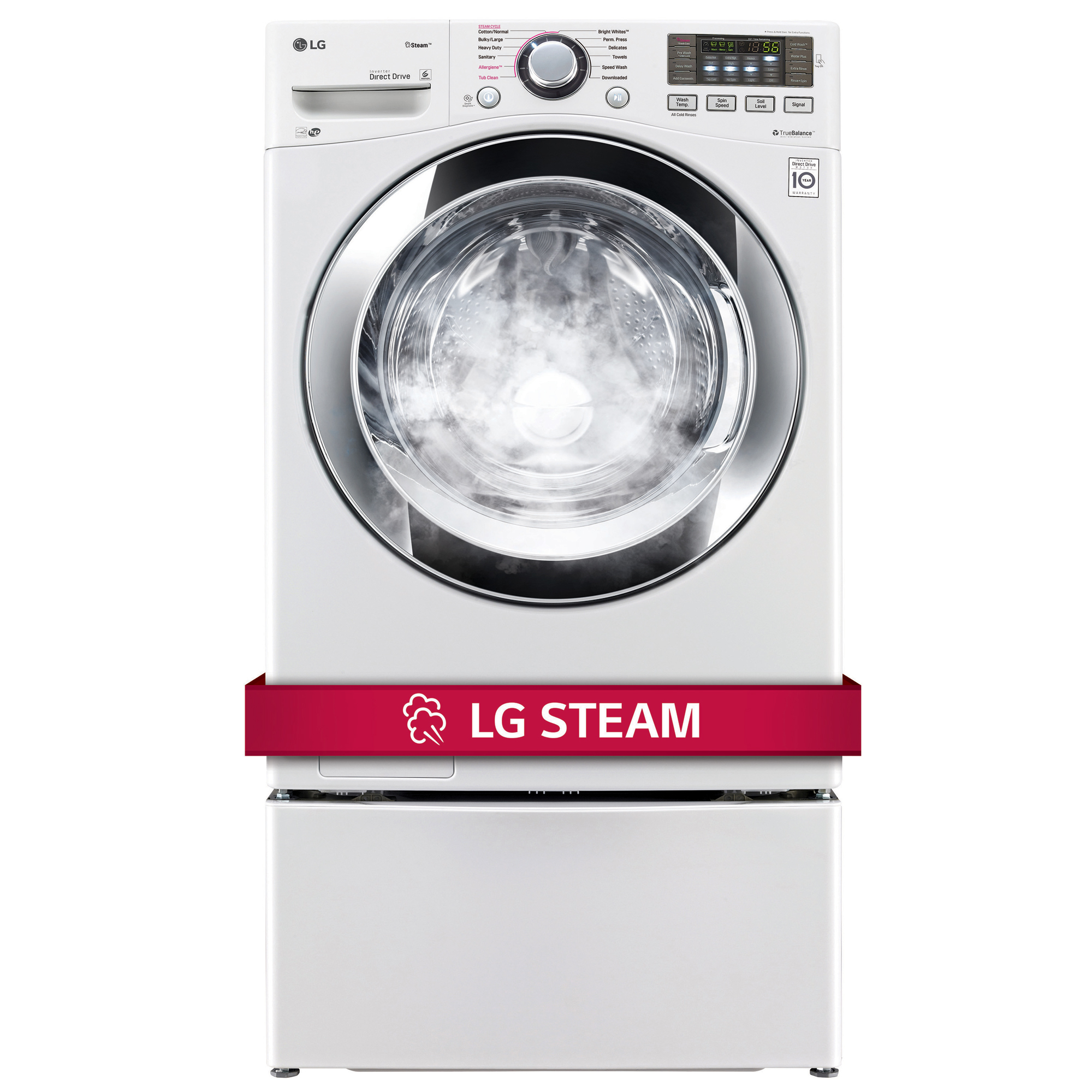 LG WM3670HWA 4.5 cu. ft. Ultra Large Capacity Front-Load Washer w/ Steam - White