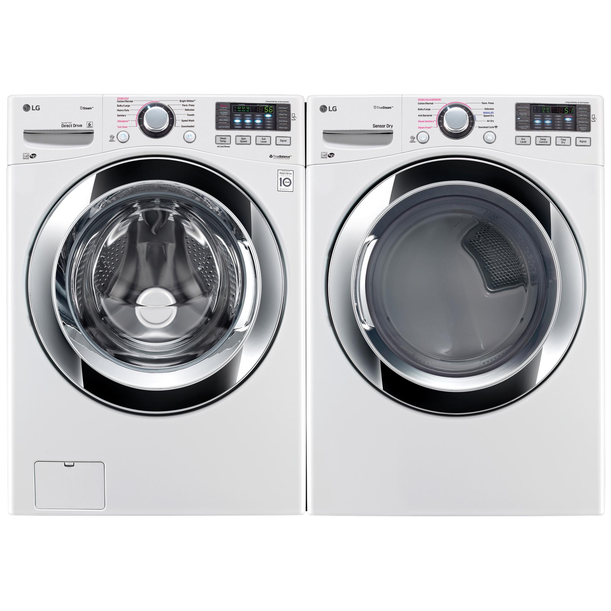 4.5 cu.ft. Front Load Washer w/Steam & 7.4 cu.ft. Dryer w/Steam White