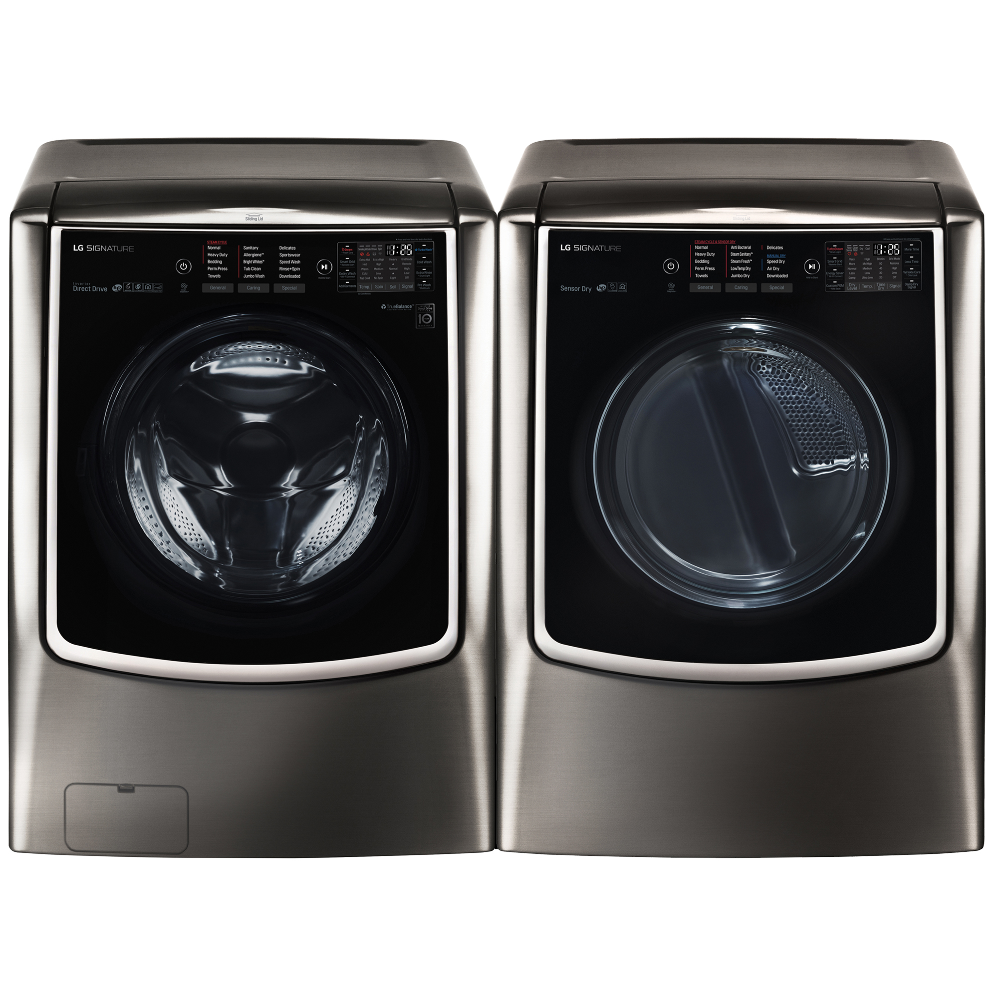 5.8 cu.ft. Front Load Washer w/TurboWash® & 9.0 cu.ft. Dryer w/TurboSteam Bundle Black Stainless