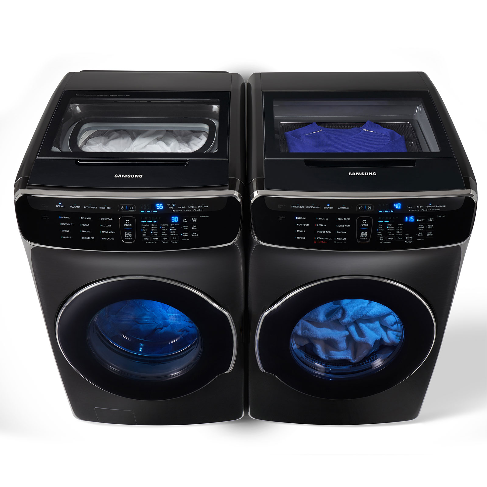 6.0 Total cu. ft. FlexWash Washer & 7.5 cu. ft. FlexDry Electric/gas Dryer - Black Stainless Steel