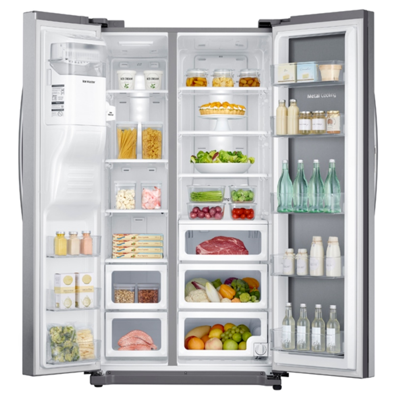 "Samsung RH25H5611SR 36"" Wide 25 cu. ft. Side-by-Side Food ShowCase Refrigerator with Metal Cooling"