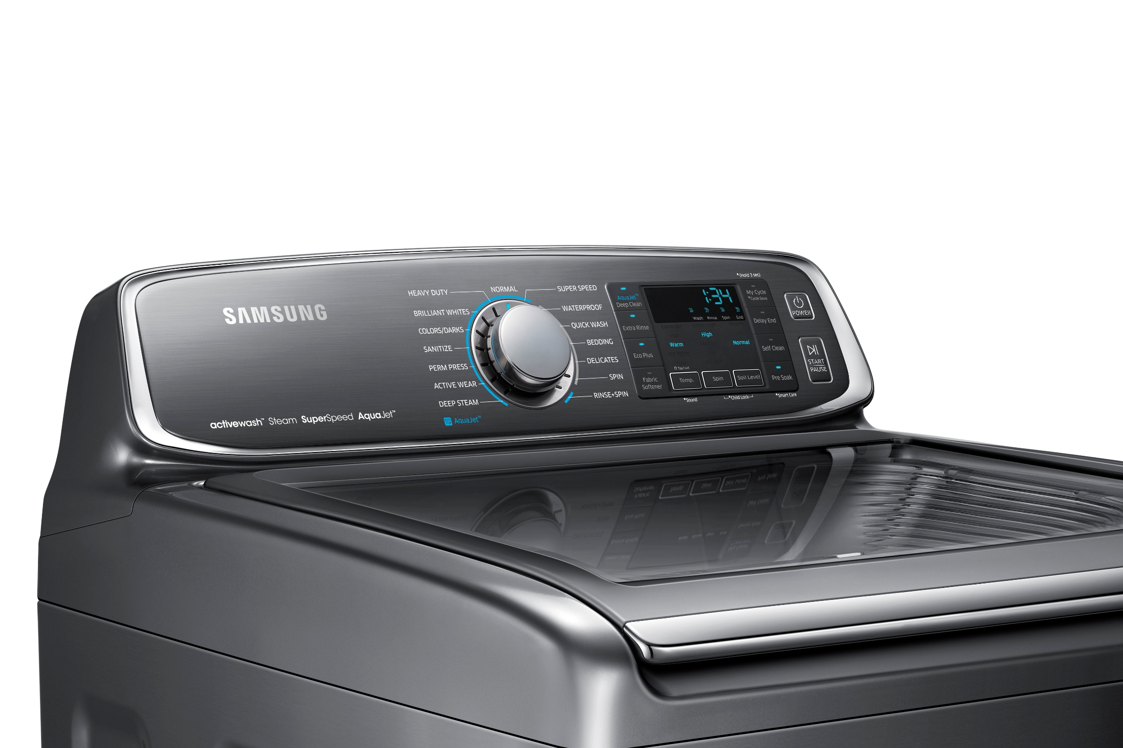 Samsung WA52J8700AP/A2 5.2 cu. ft. Top Load Washer with activewash™ Platinum