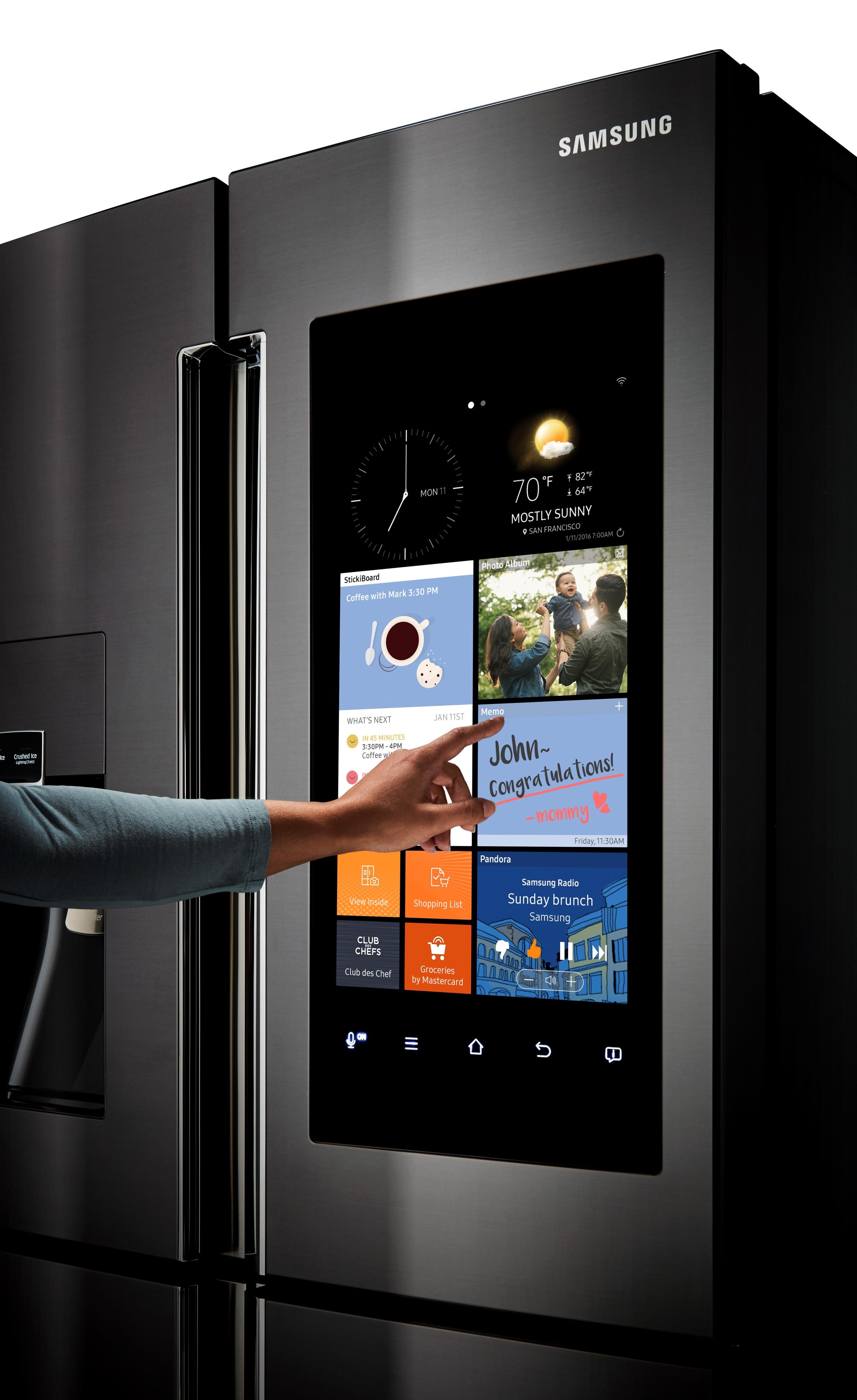 Samsung RF22K9581SG/AA 22 cu. ft. Capacity Counter Depth 4-Door Flex™ Refrigerator with Family Hub™ Black Stainless Steel