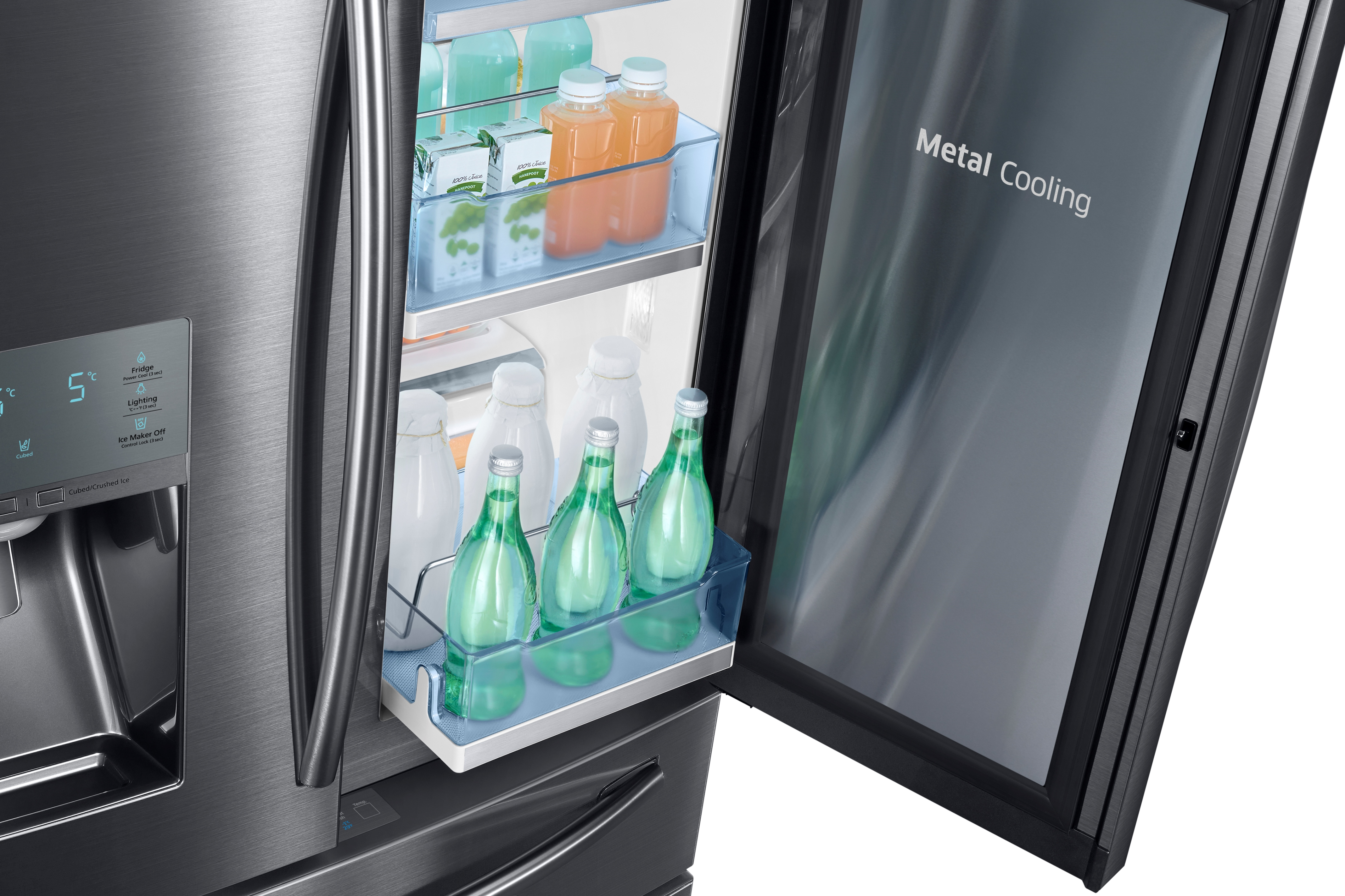 Samsung RF28JBEDBSG 28 cu. ft. Capacity 4-Door French Door Food Showcase Refrigerator Black Stainless Steel