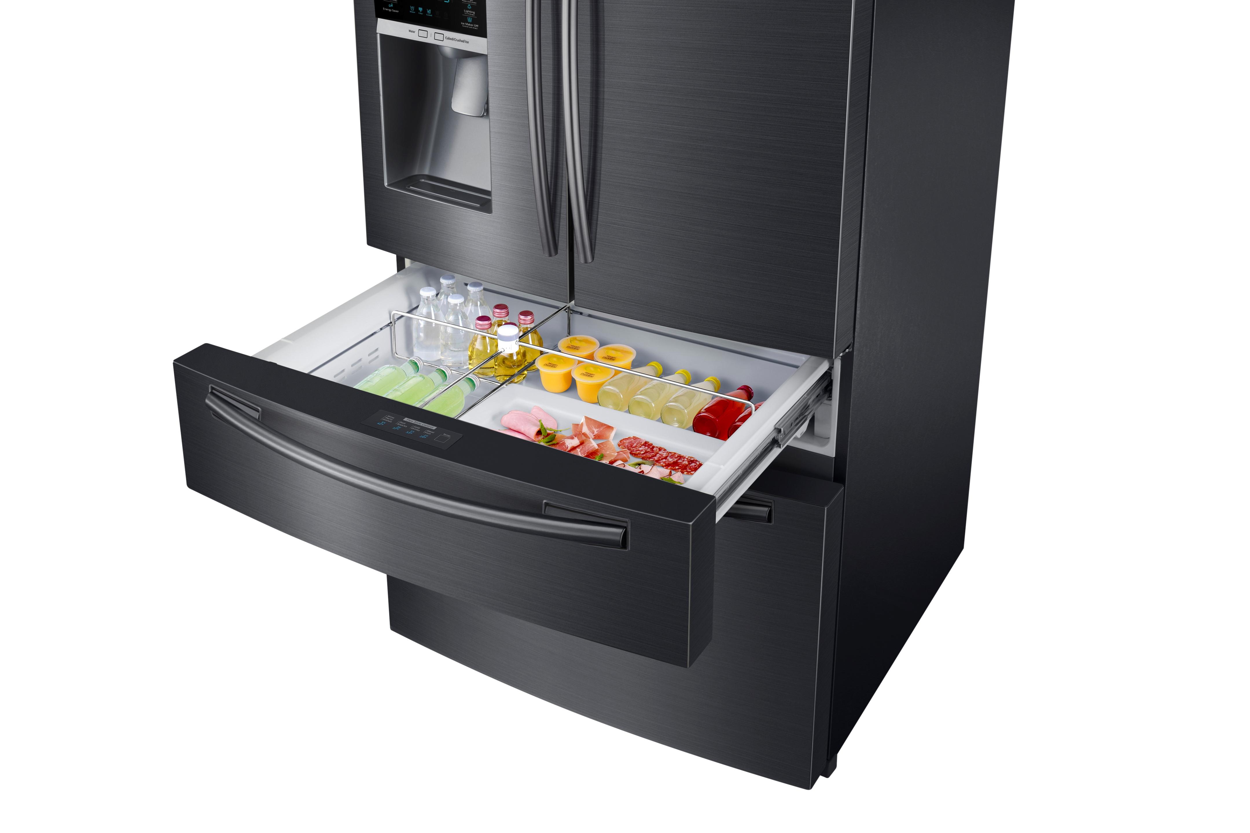 Samsung RF25HMEDBSG/AA 24.7 cu. ft. Capacity 4-Door French Door Refrigerator Black Stainless Steel
