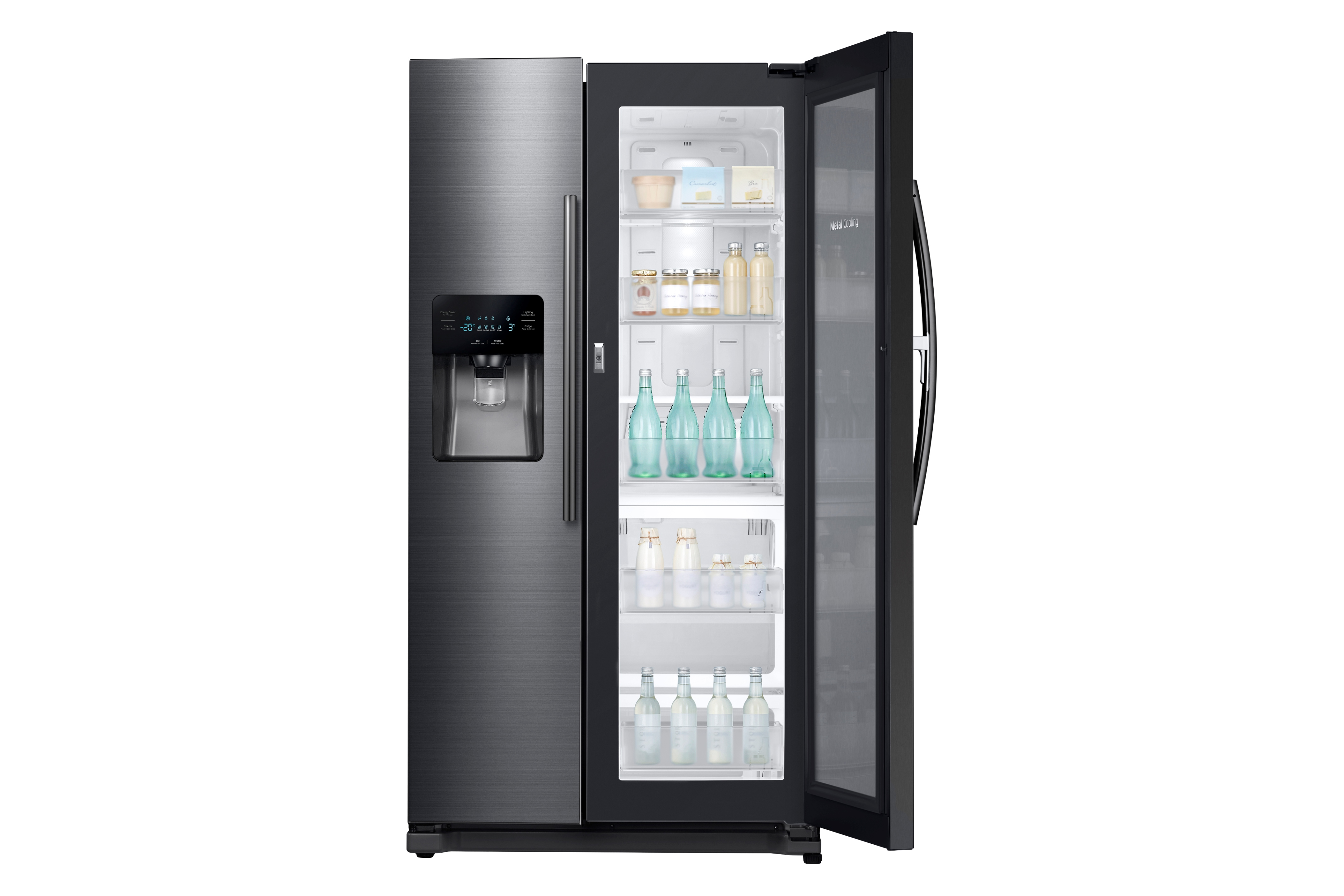 Samsung RH25H5611SG/AA 24.7 cu. ft. Capacity Side-by-Side Food ShowCase Refrigerator with Metal Cooling - Black Stainless Steel