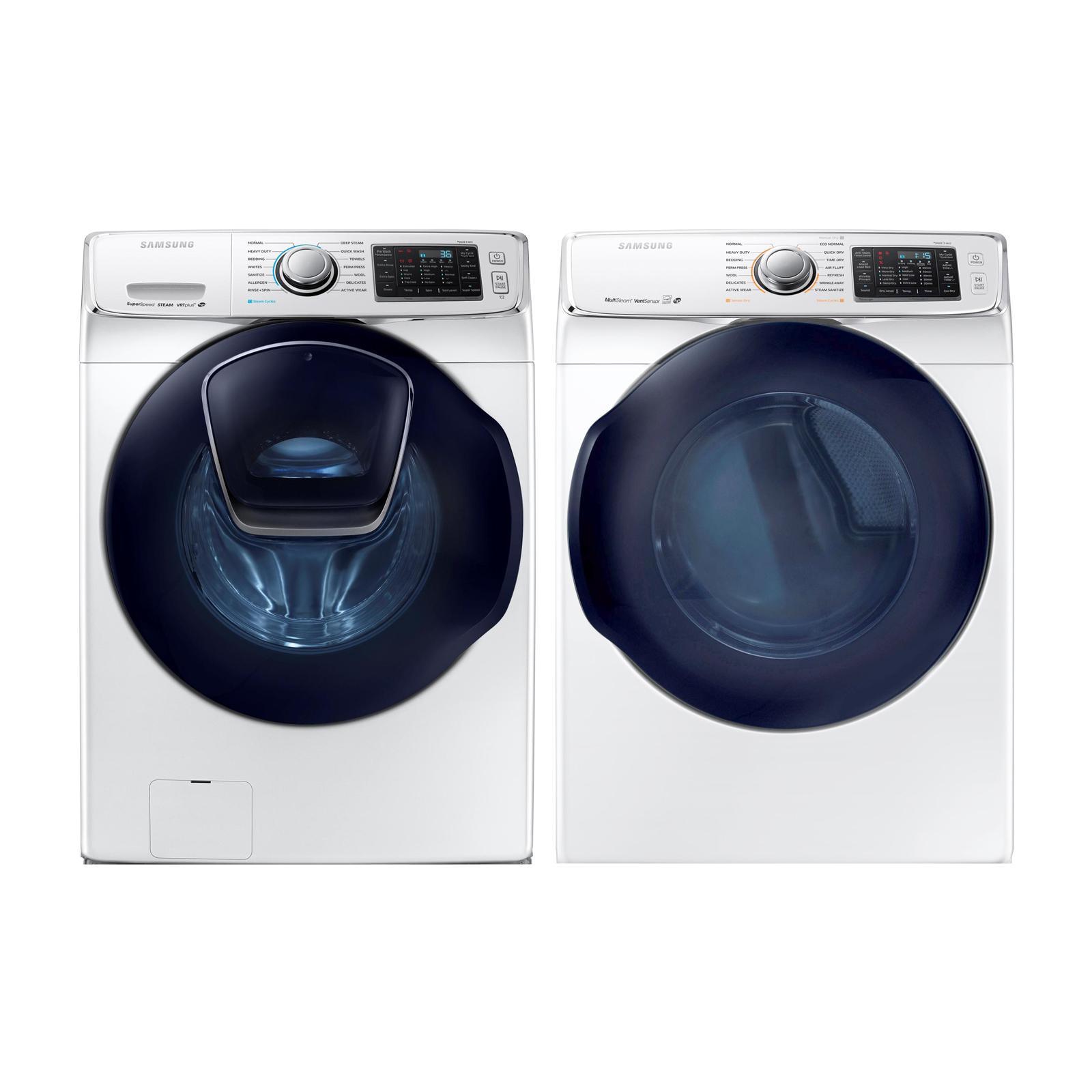 4.5 cu. ft. AddWash Front Load Washer and 7.5 cu. Ft Dryer Bundle - White