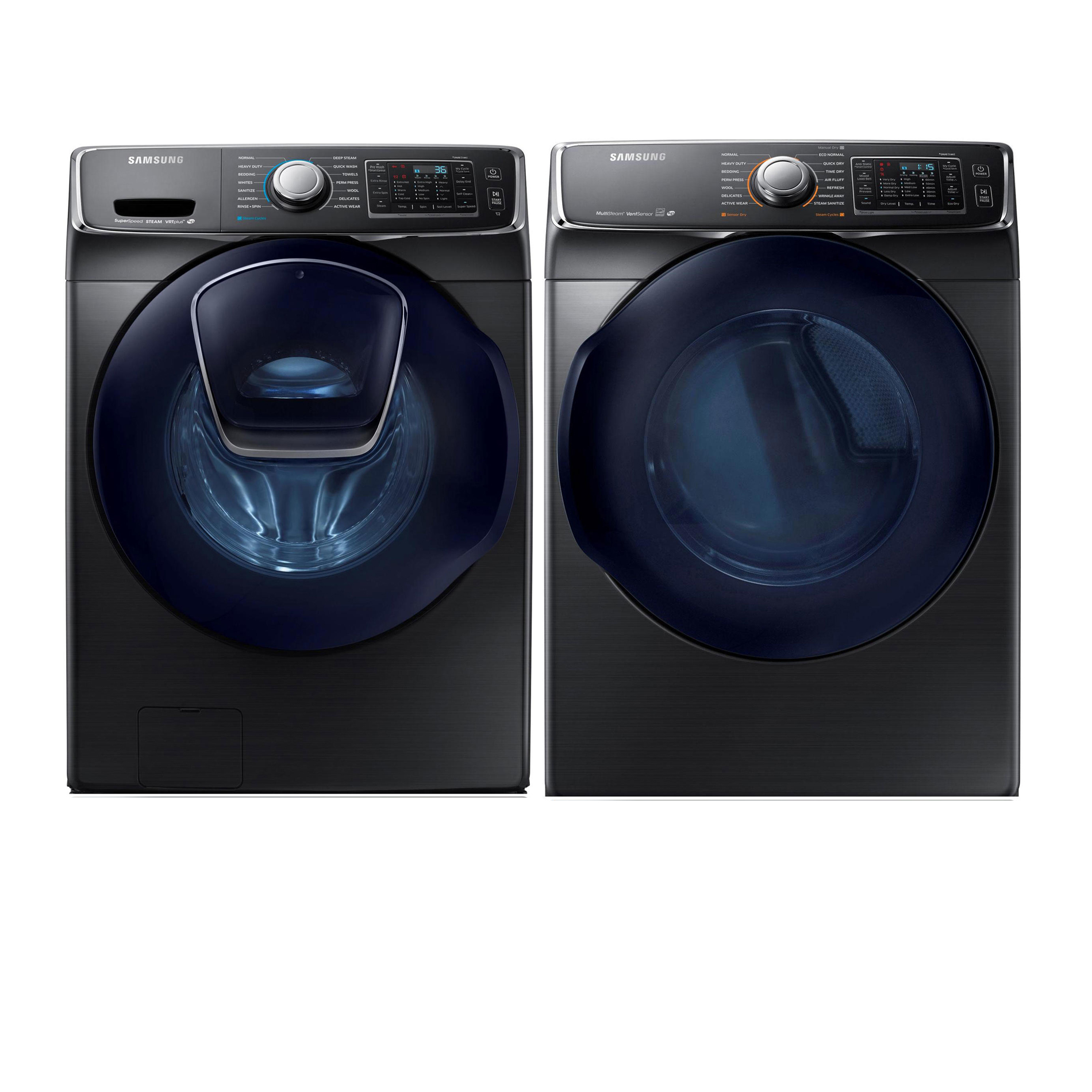 4.5 cu. ft. AddWash Front Load Washer and 7.5 cu. Ft Dryer Bundle - Black Stainless