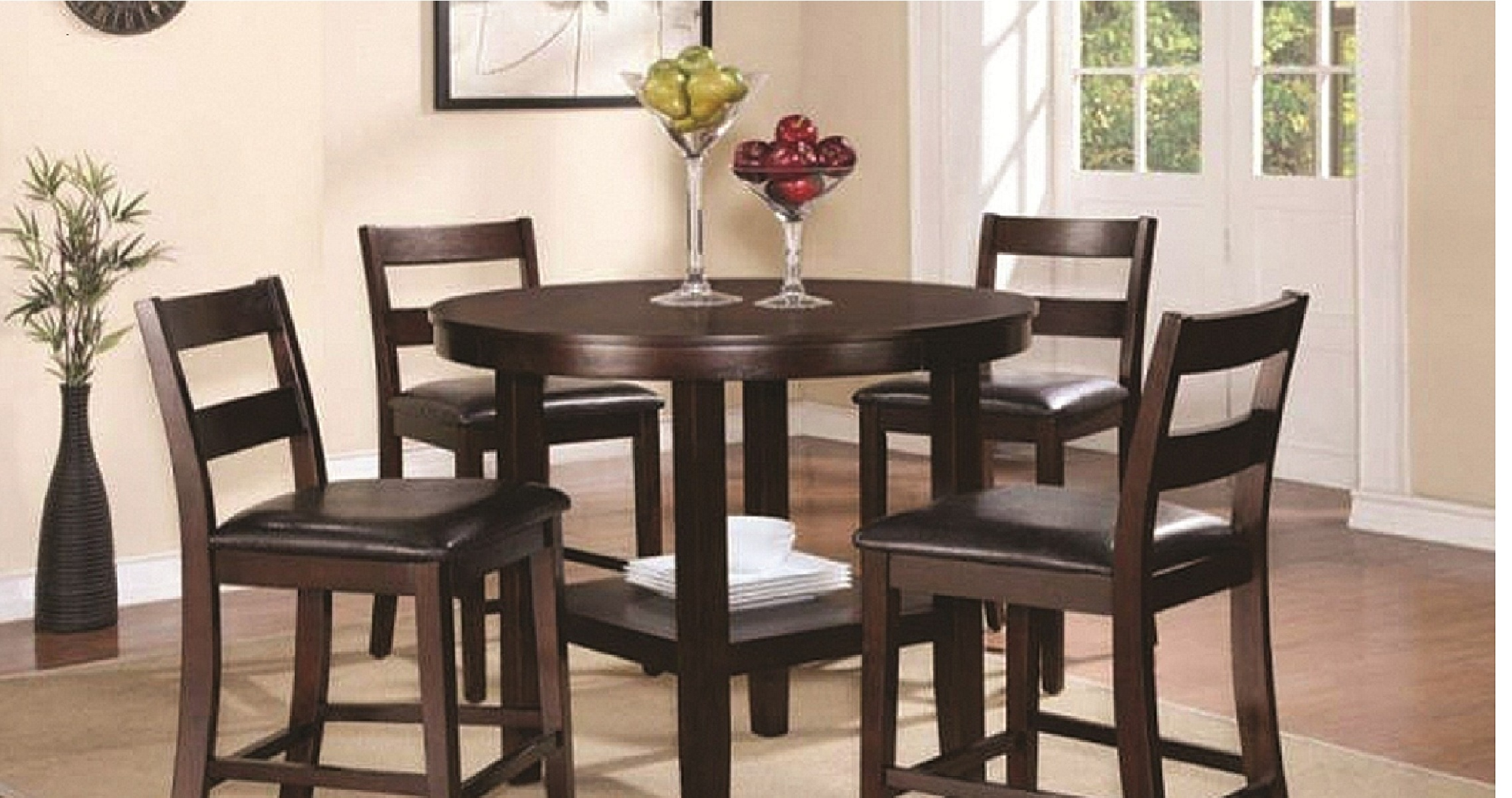 5 Piece Counter High Dining Set (Dining Table and 4 Barstools)