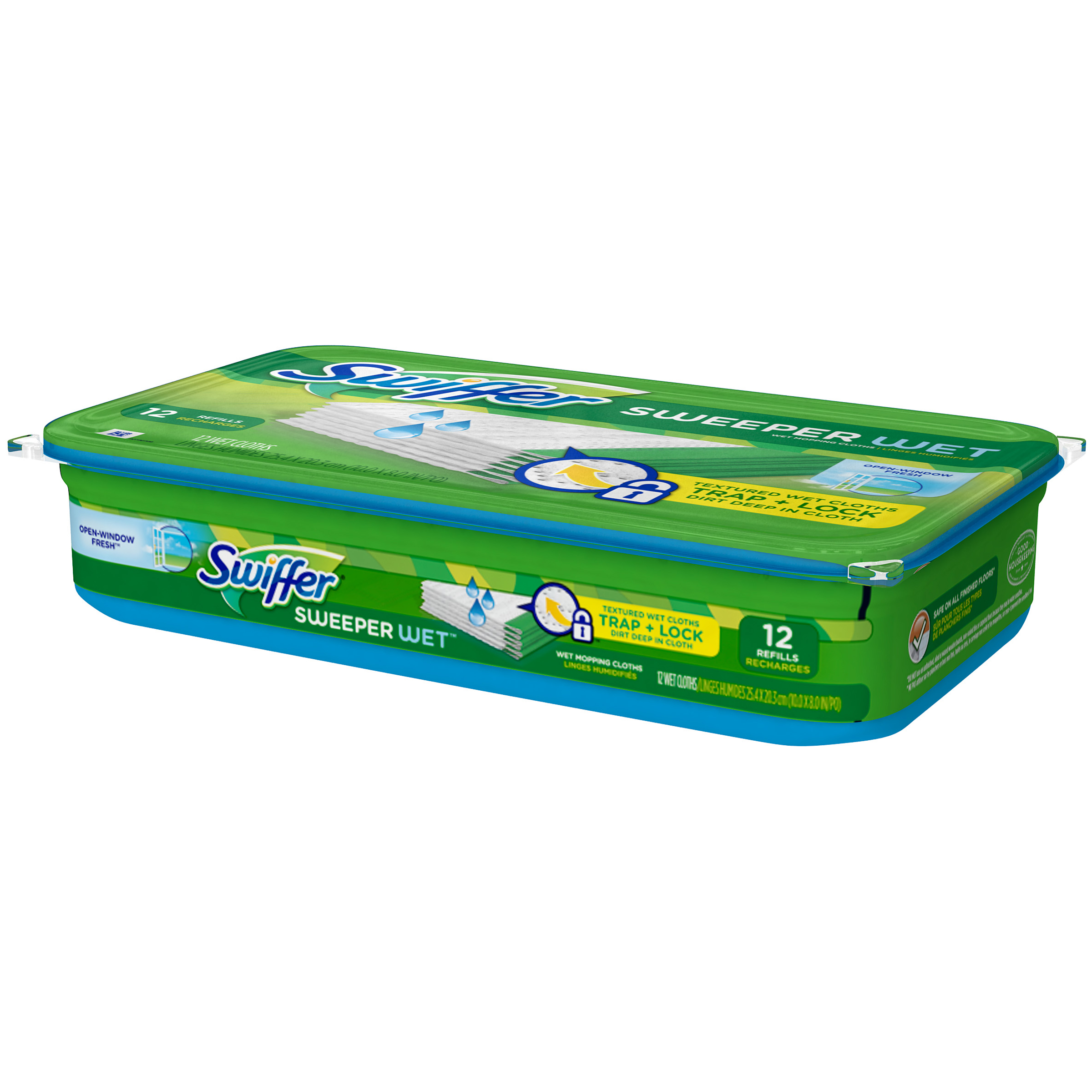 Swiffer Swiffer Sweeper Wet Mopping Pad Refills for Floor Mop Open Window Fresh Scent 12 Count Surface Care