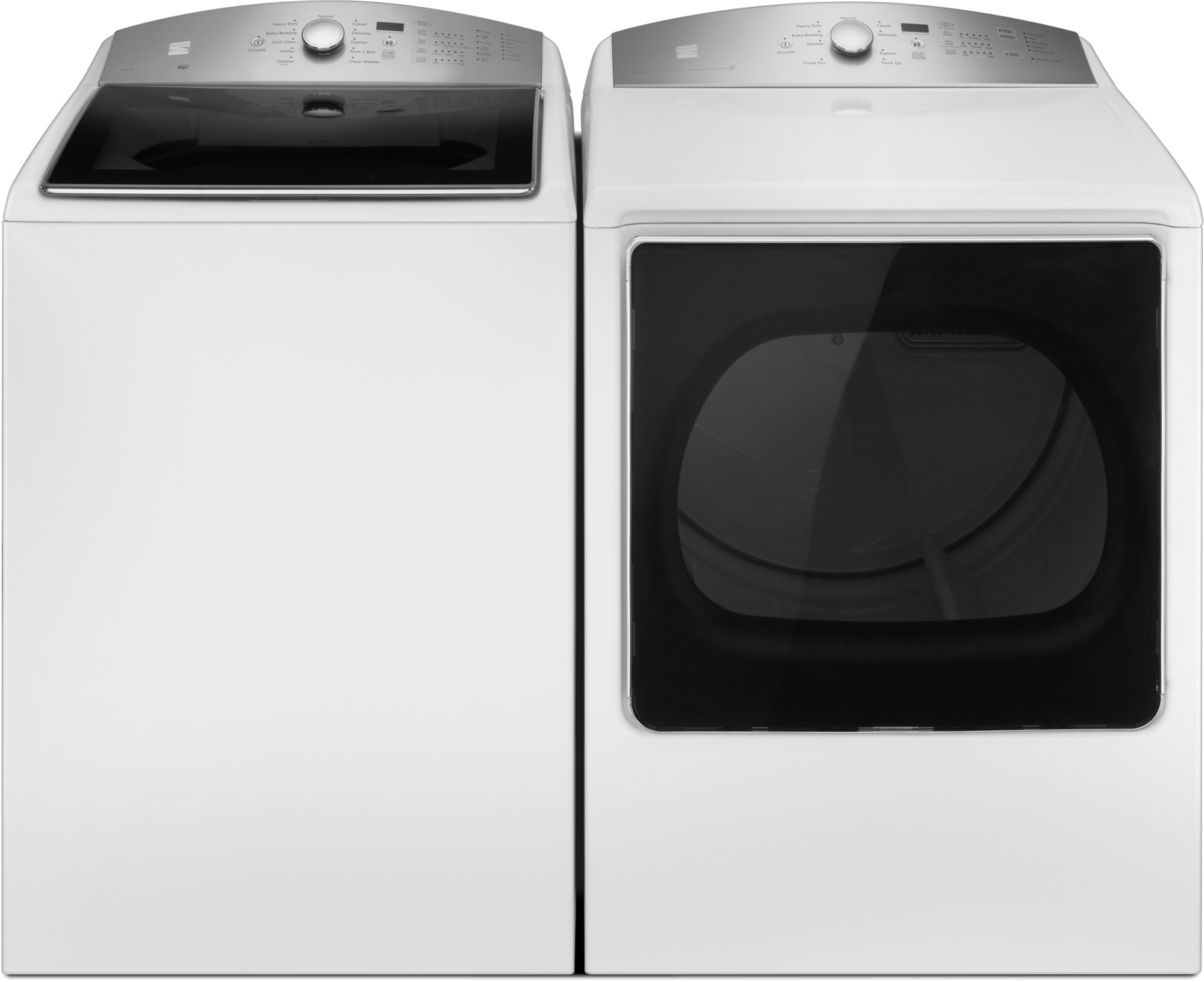 5.3 cu. ft. Top-Load Washer w/Triple Action Impeller & 8.8 cu. ft.Dryer w/Steam Refresh - White