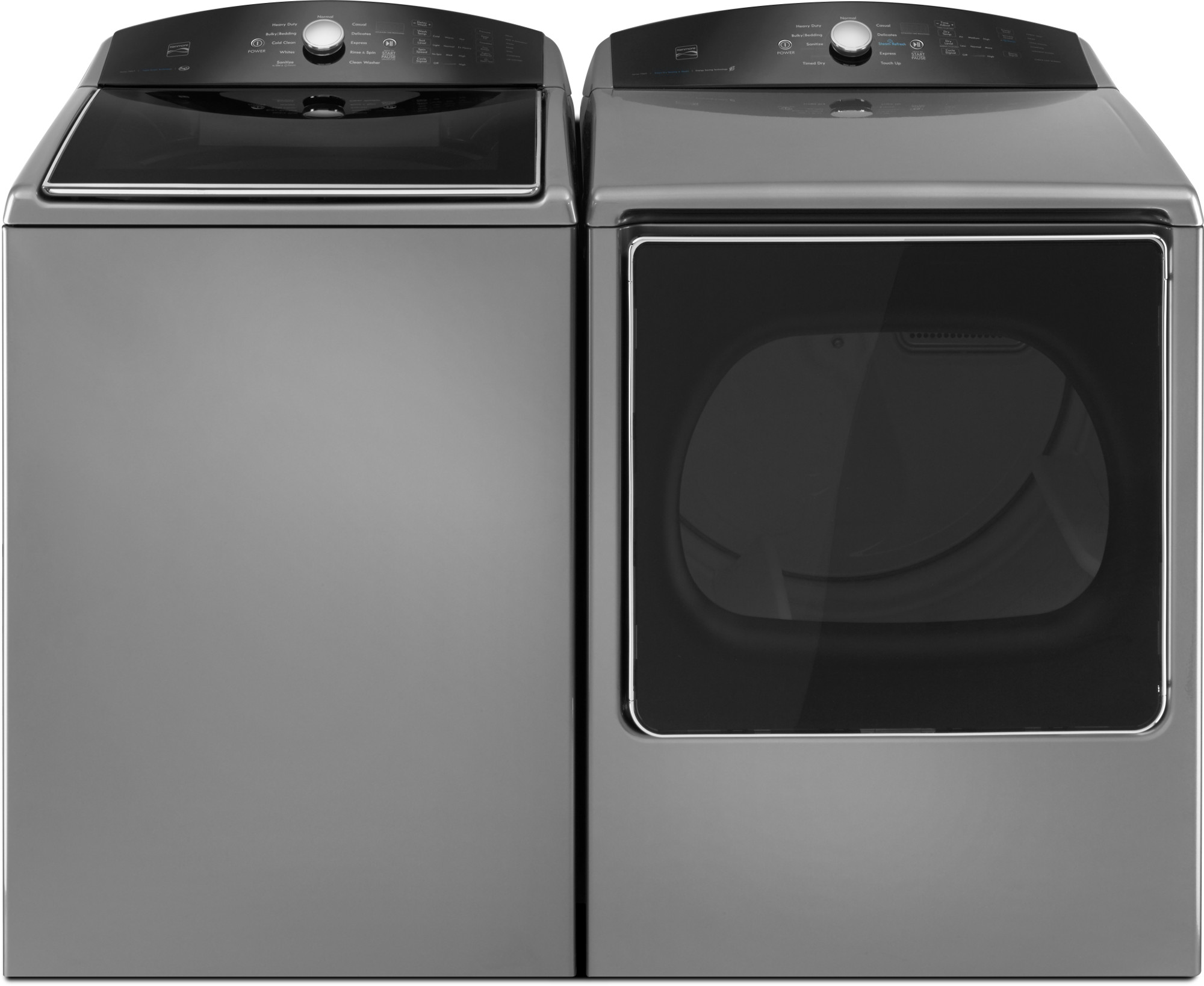 5.3 cu. ft. Top-Load Washer w/Triple Action Impeller & 8.8 cu. ft. Dryer w/Steam Refresh - Metallic