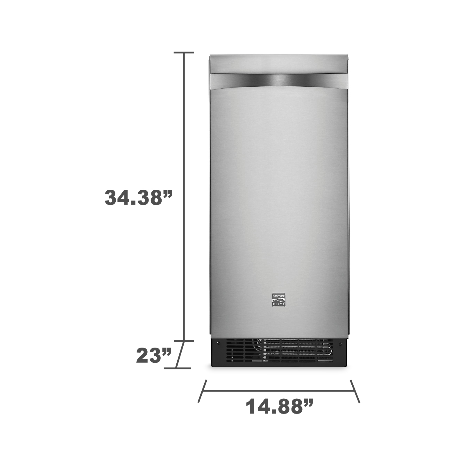 "Kenmore 89593 15"" Ice Maker w/ Drain Pump - Stainless Steel"