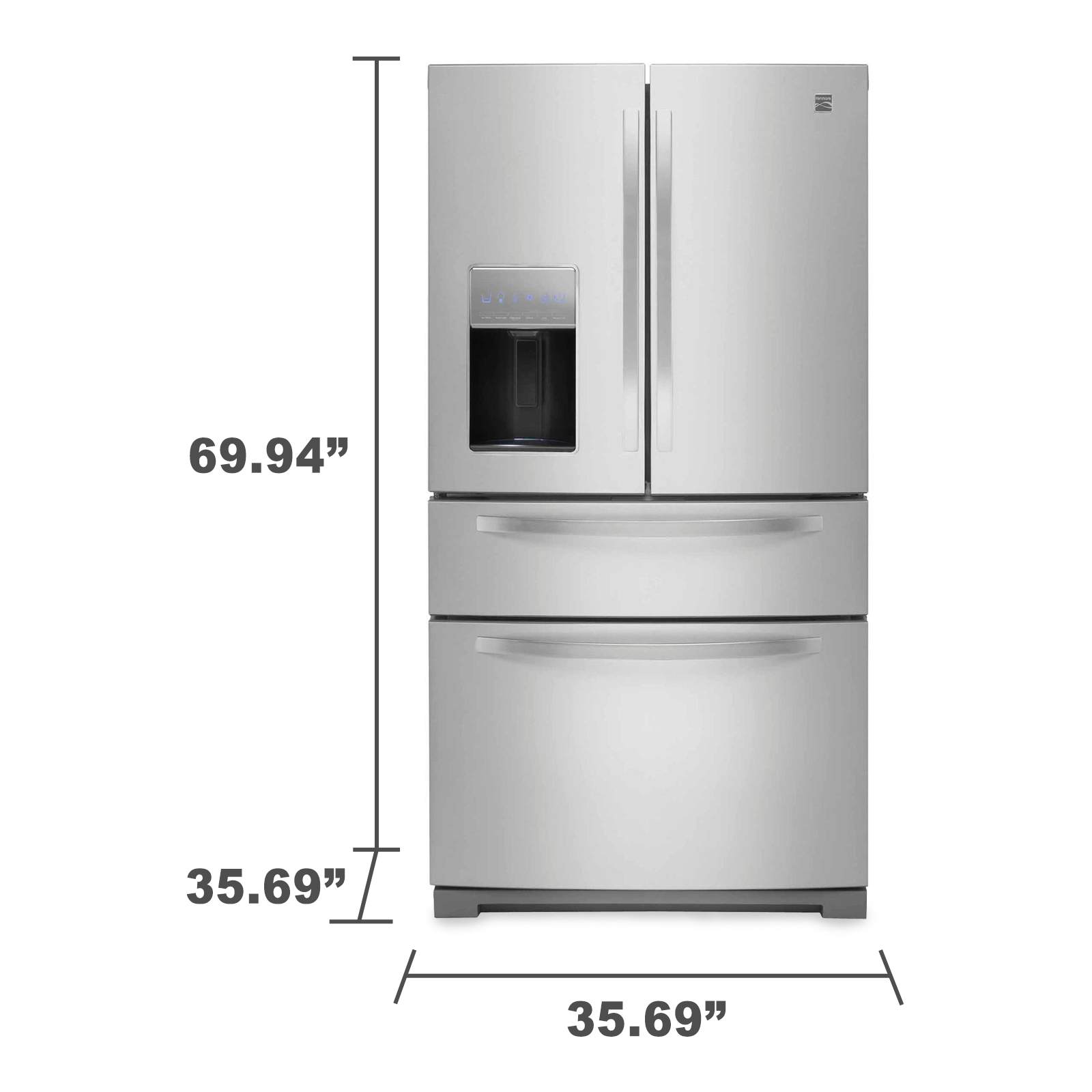 Kenmore 72383 26.2 cu. ft. French Door Refrigerator w/ Fresh Storage Drawer –Stainless Steel