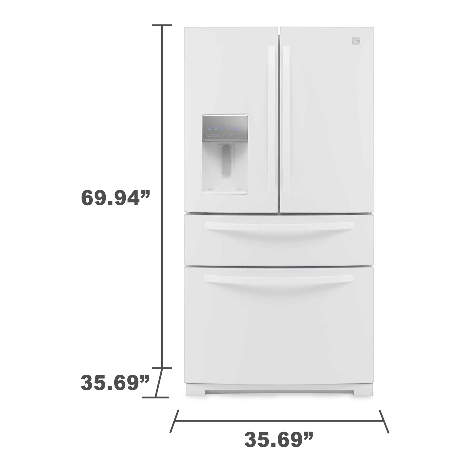 Kenmore 72382 26.2 cu. ft. French Door Refrigerator w/ Fresh Storage Drawer - White