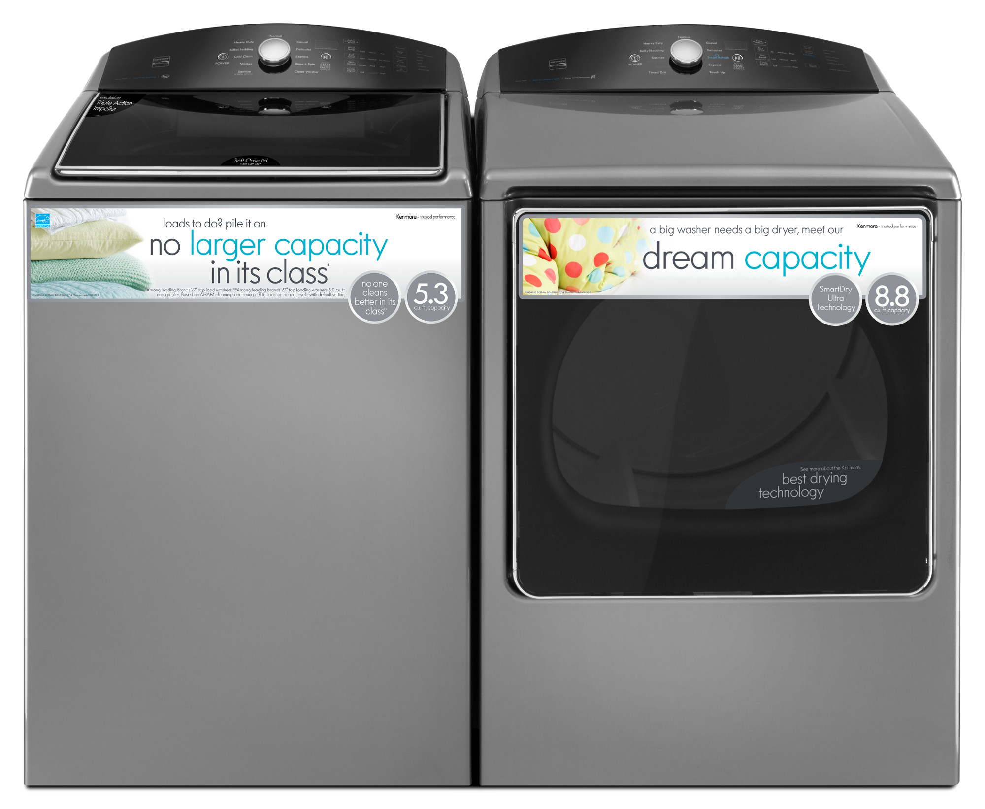 Kenmore 28133 5.3 cu. ft. Top-Load Washer w/ Exclusive Triple Action Impeller - Metallic
