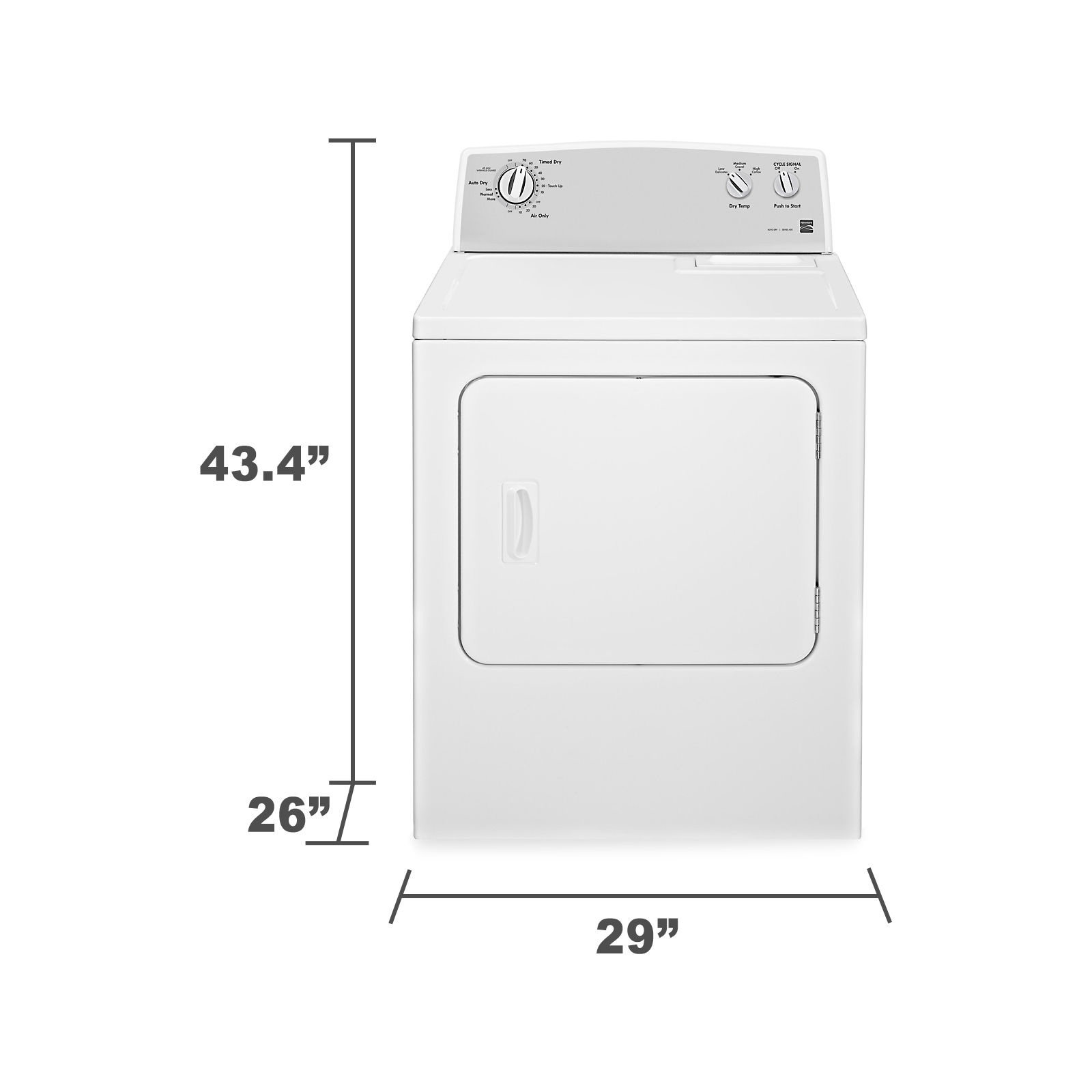 Kenmore 65202 5.9 cu. ft. Flat-Back Electric Dryer w/ SmartDry™ - White